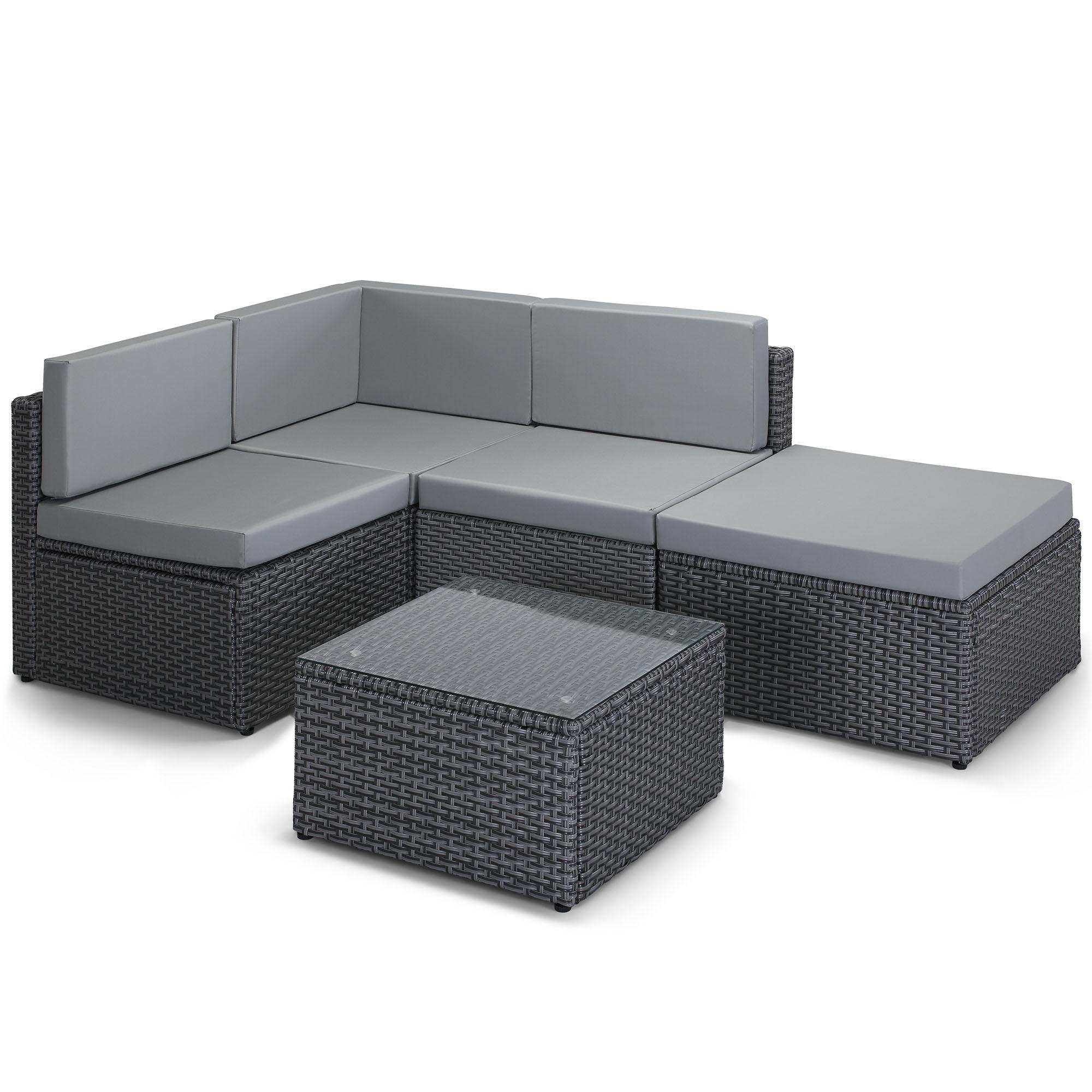 sentinel vonhaus rattan modular sofa set cushioned l shaped lounge dining set for garden
