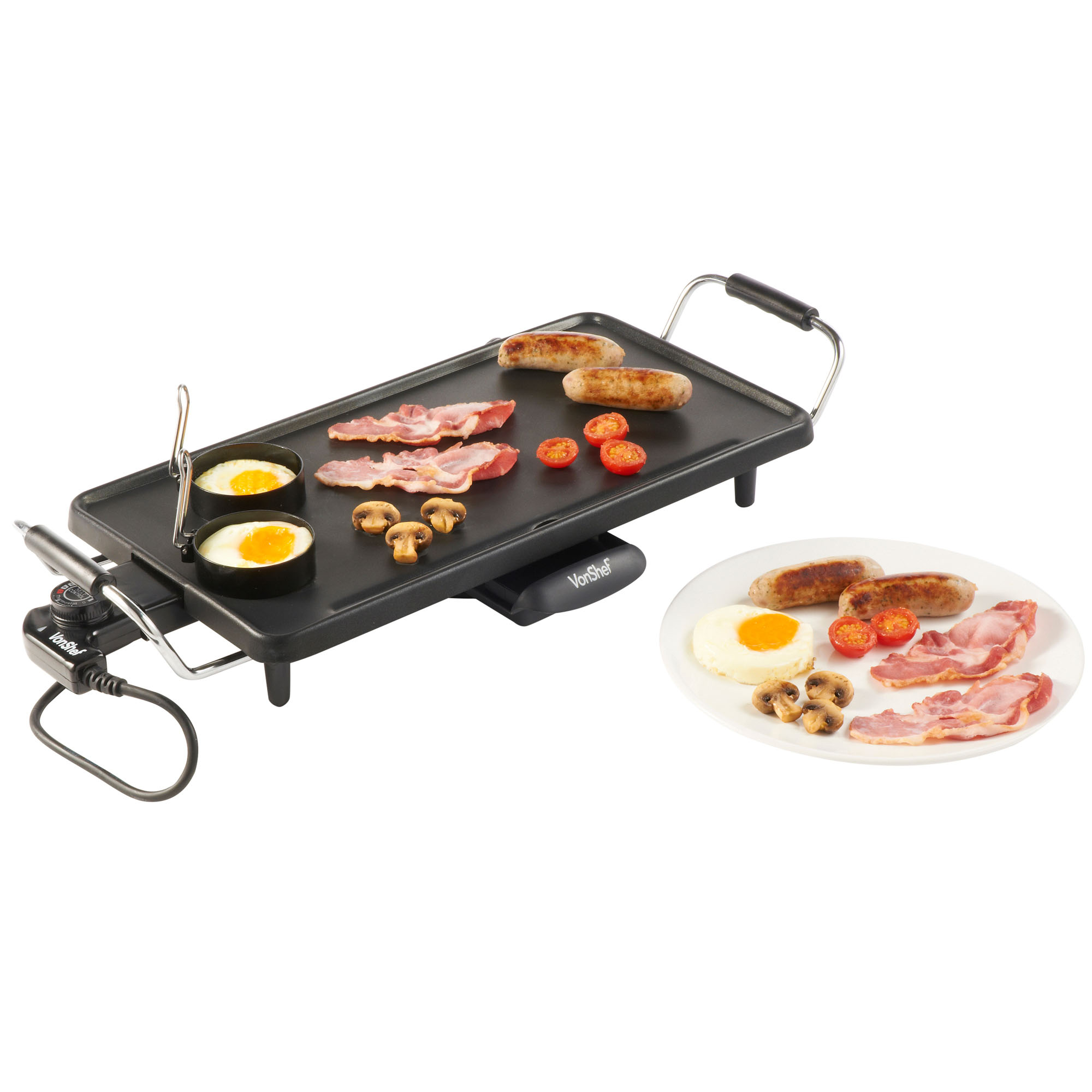 vonshef electric teppanyaki table top grill griddle bbq barbecue garden camping. Black Bedroom Furniture Sets. Home Design Ideas