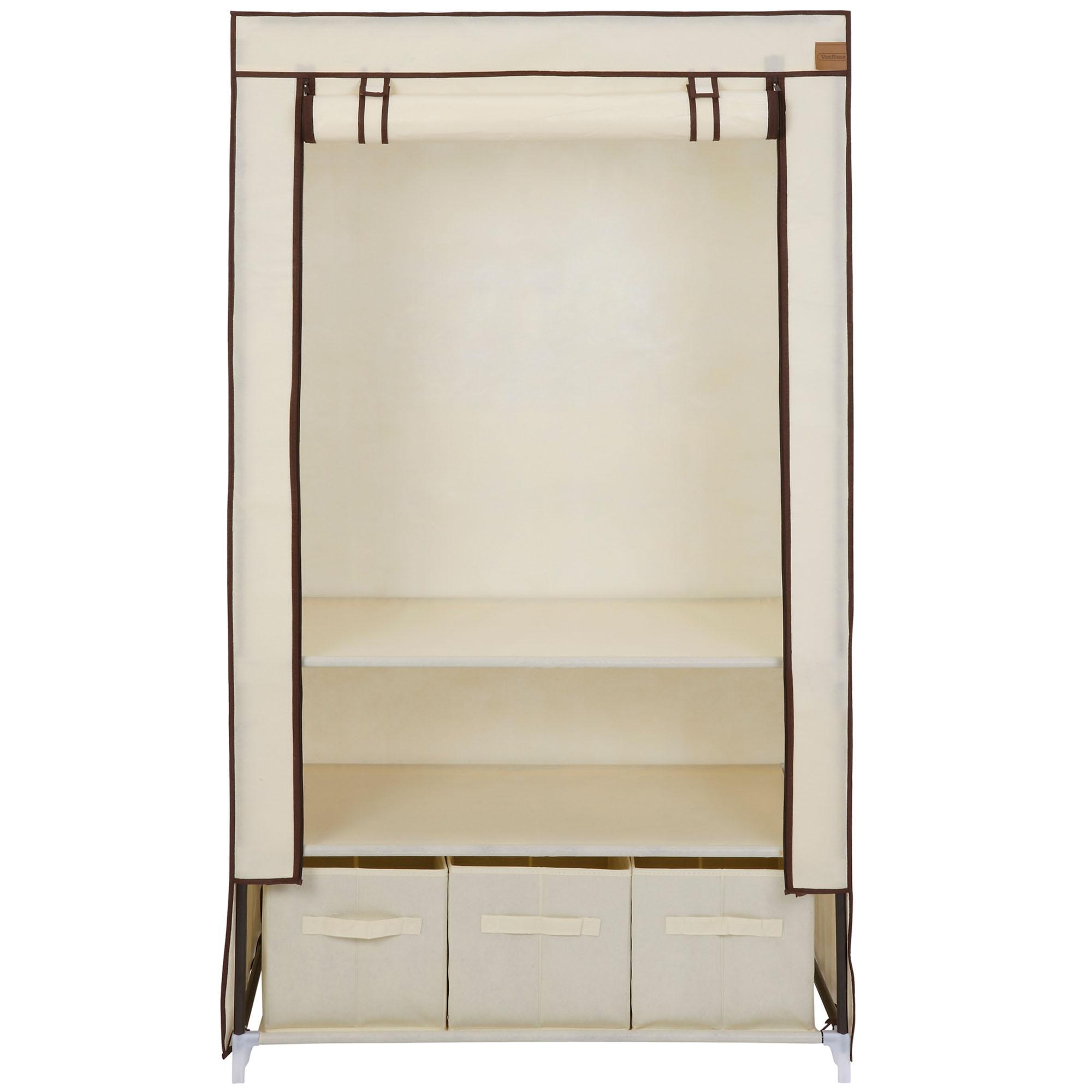 Canvas Storage Boxes For Wardrobes: VonHaus Beige Canvas Effect Strong Clothes Rail Shelves