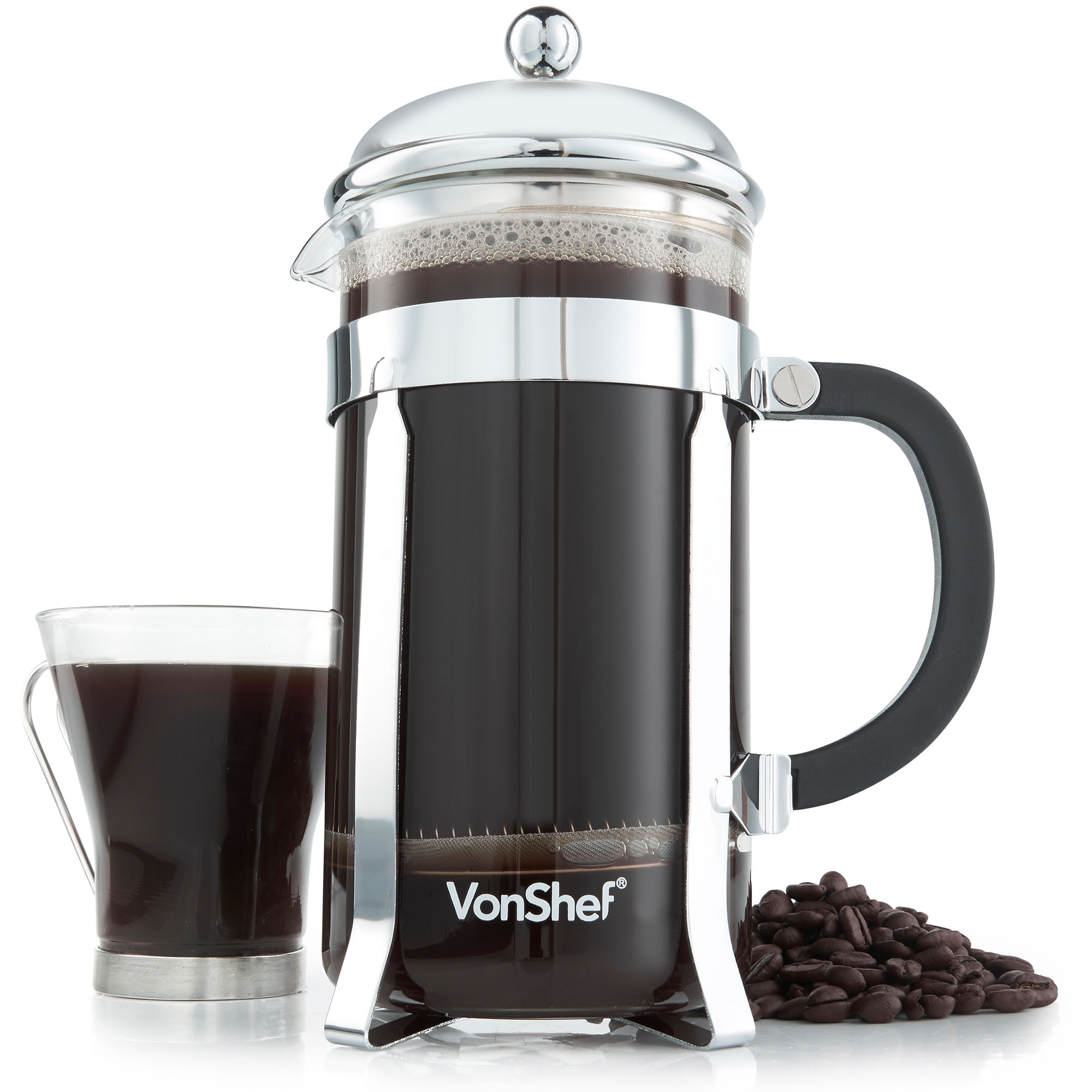 vonshef 12 cup 1 5 l french press stainless steel cafetiere filter coffee maker ebay. Black Bedroom Furniture Sets. Home Design Ideas