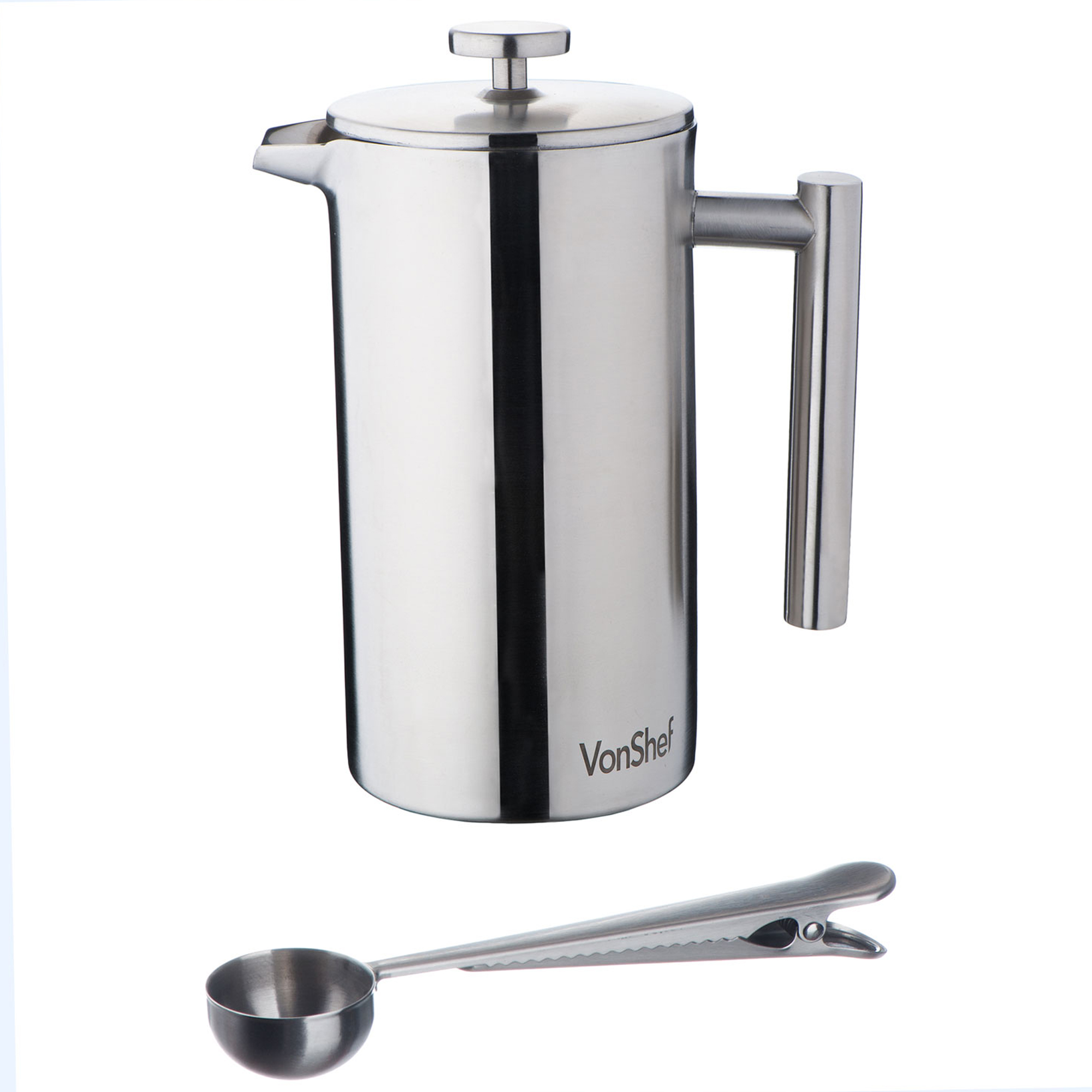 vonshef stainless steel cafetiere coffee filter maker measuring spoon clip ebay. Black Bedroom Furniture Sets. Home Design Ideas