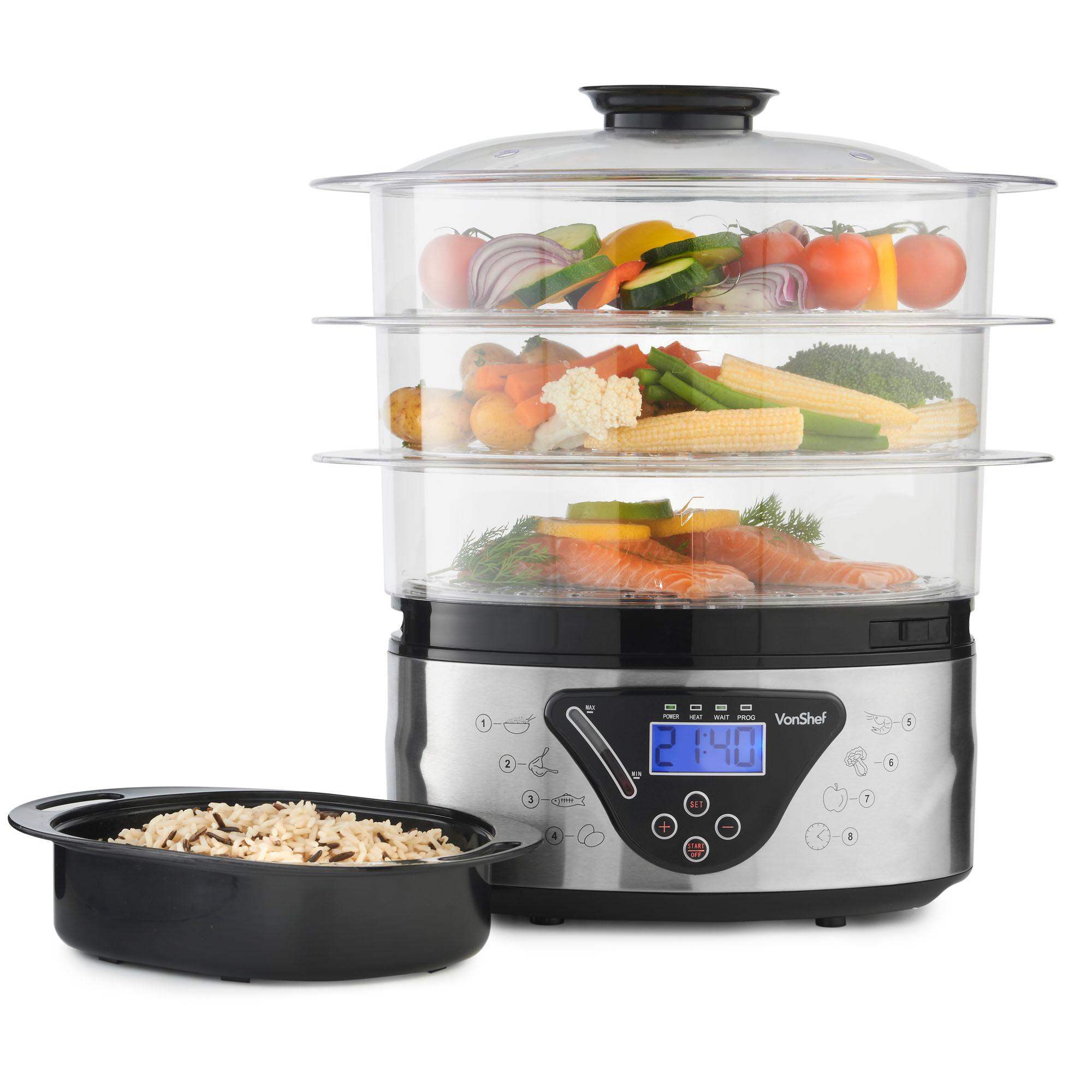 Electronic Food Steamer ~ Vonshef digital electric tier l food steamer rice