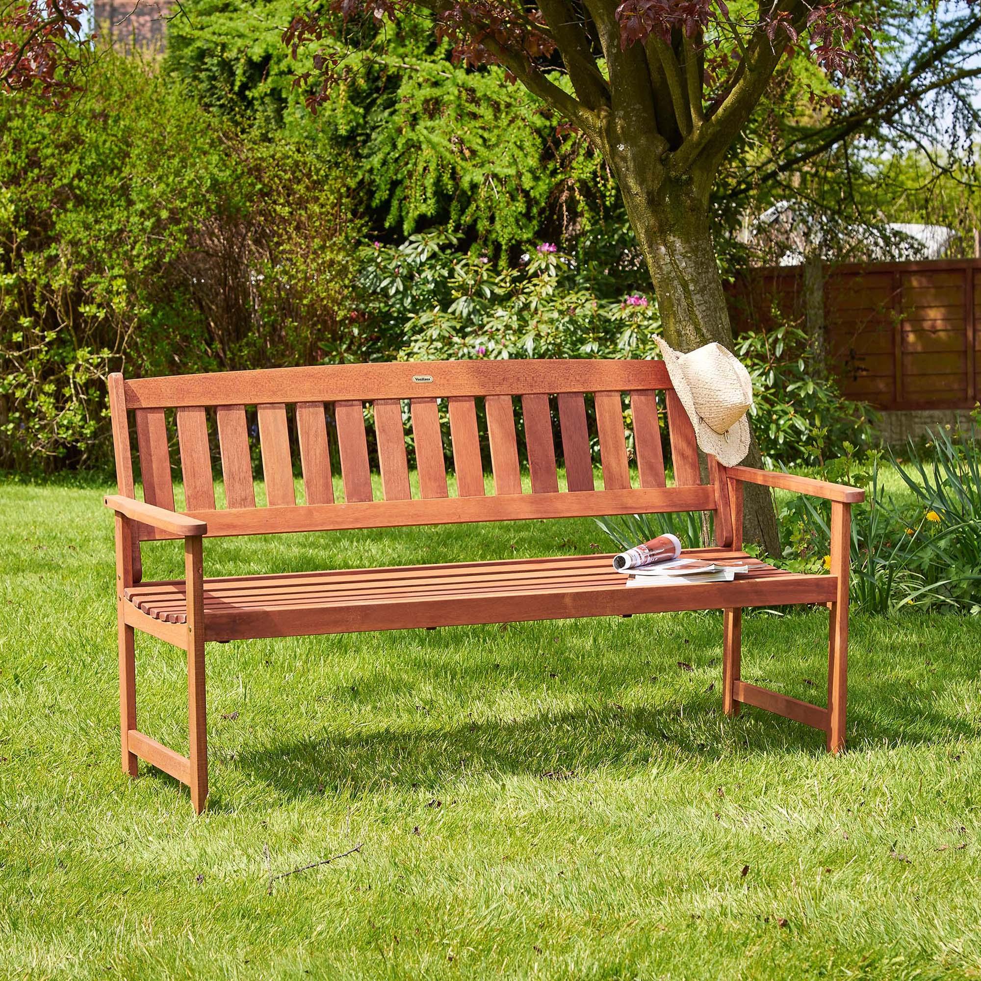 VonHaus 3 Seater Hardwood Garden Bench Outdoor Patio Furniture Wooden Seat