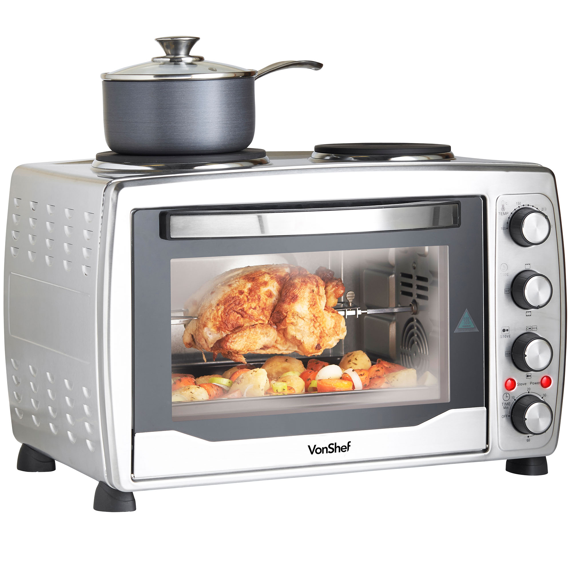 Mini Oven: VonShef Mini Oven 36 Litres Silver Convection Double Hob