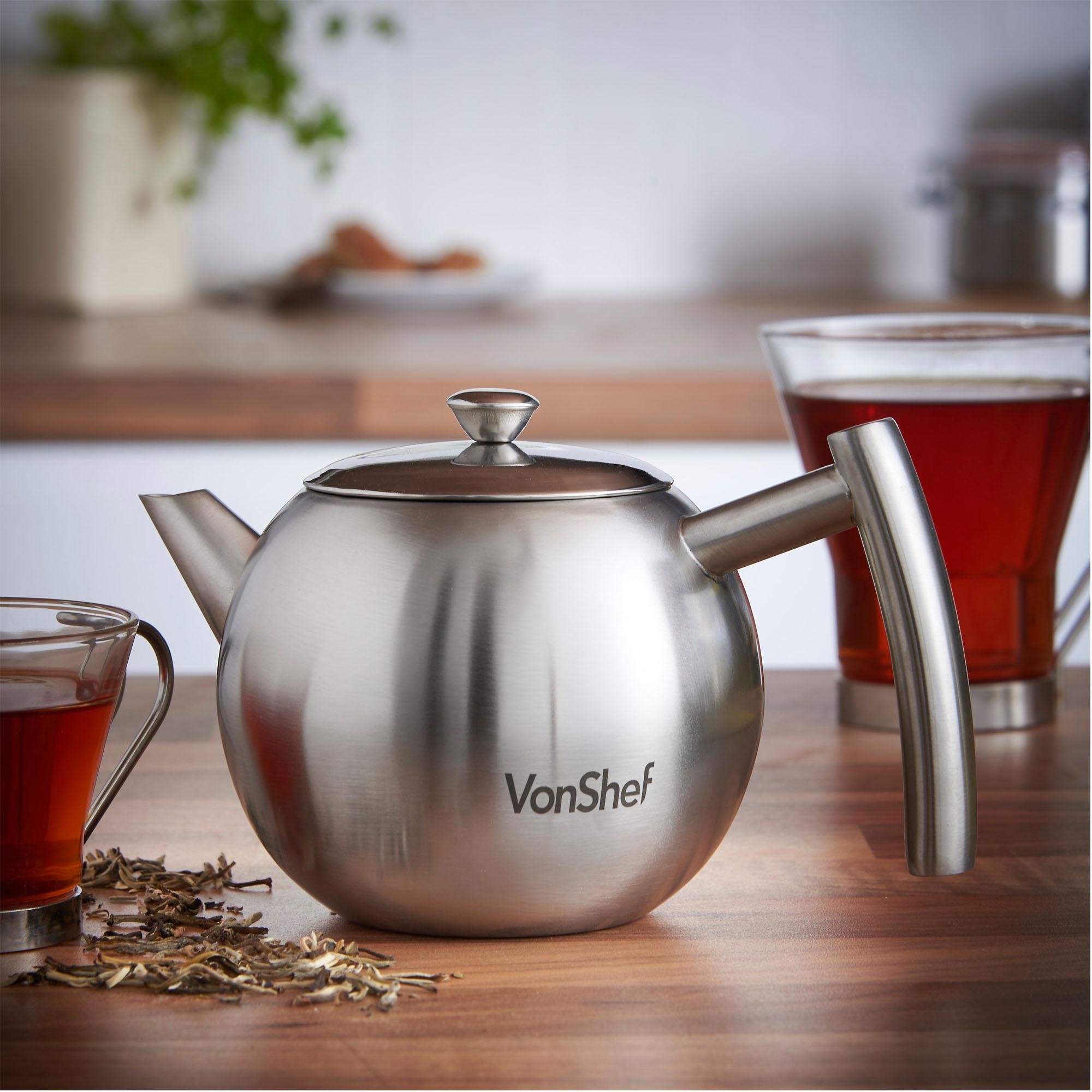 vonshef stainless steel teapot infuser tea pot  ml ml and l - sentinel vonshef teapot variation