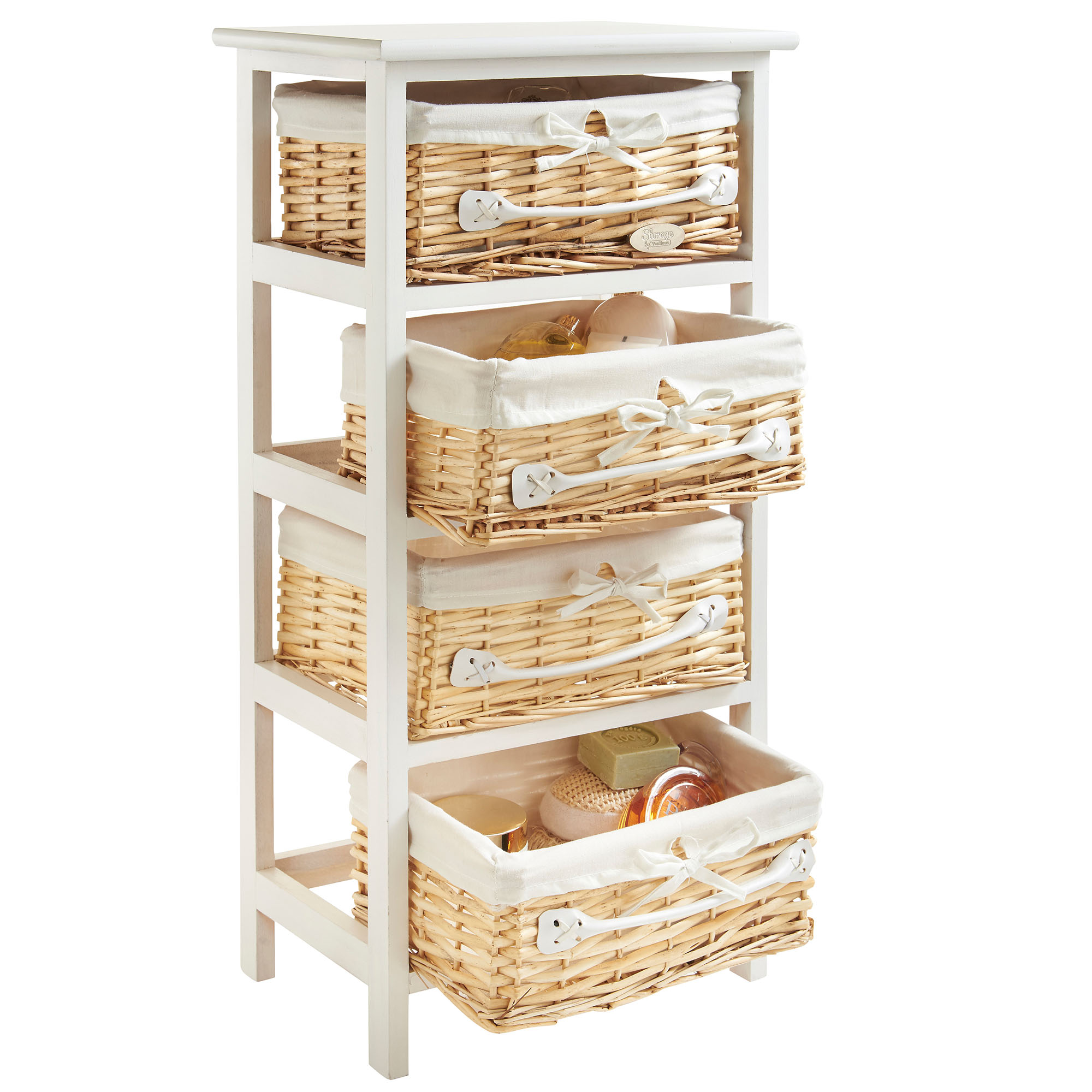 Buy Wicker Storage Basket Kitchen Drawer Style From The: VonHaus 4 Drawer Wicker Basket Wood Storage Unit Bedroom