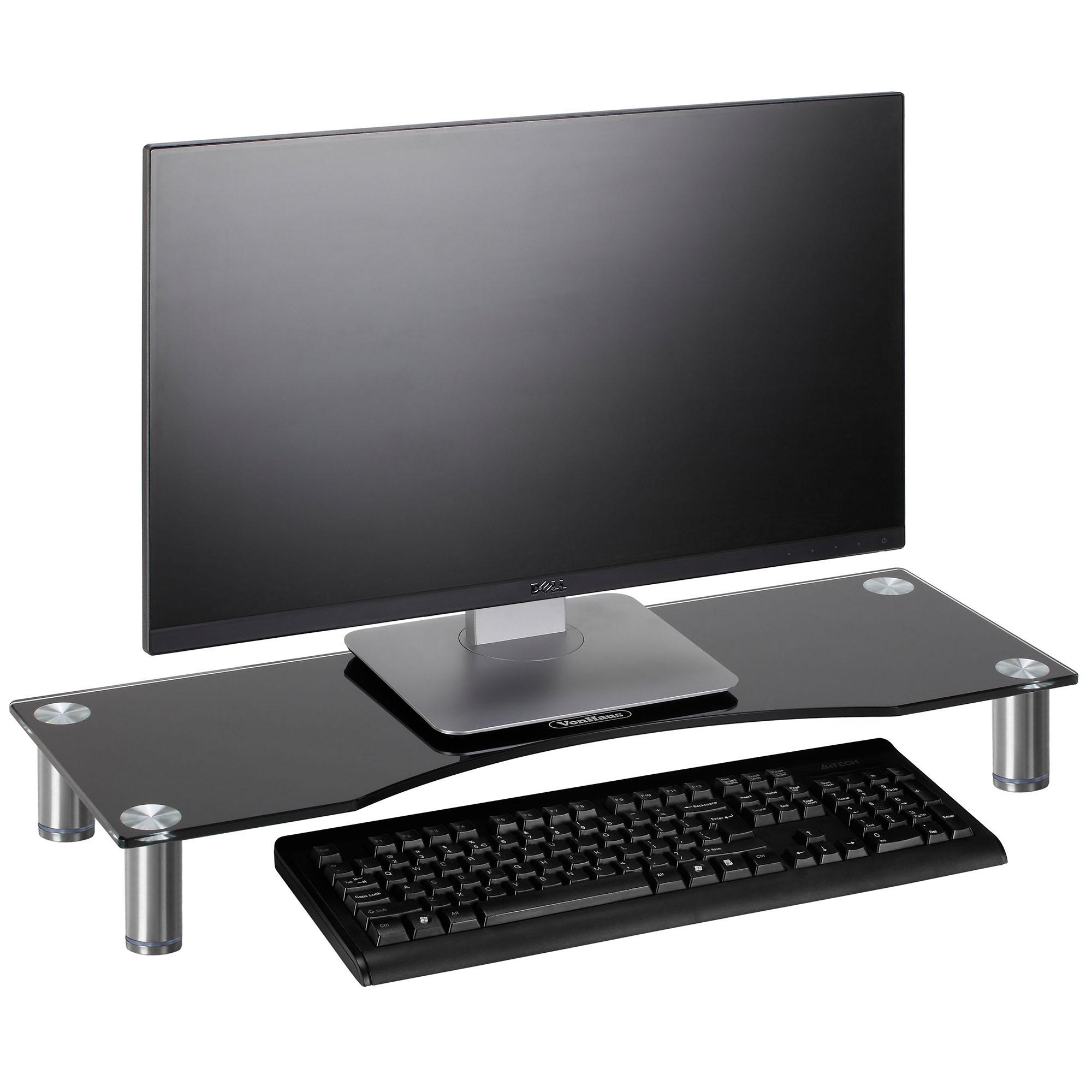 Vonhaus Large Black Curved Glass Monitor Mount Tv Display
