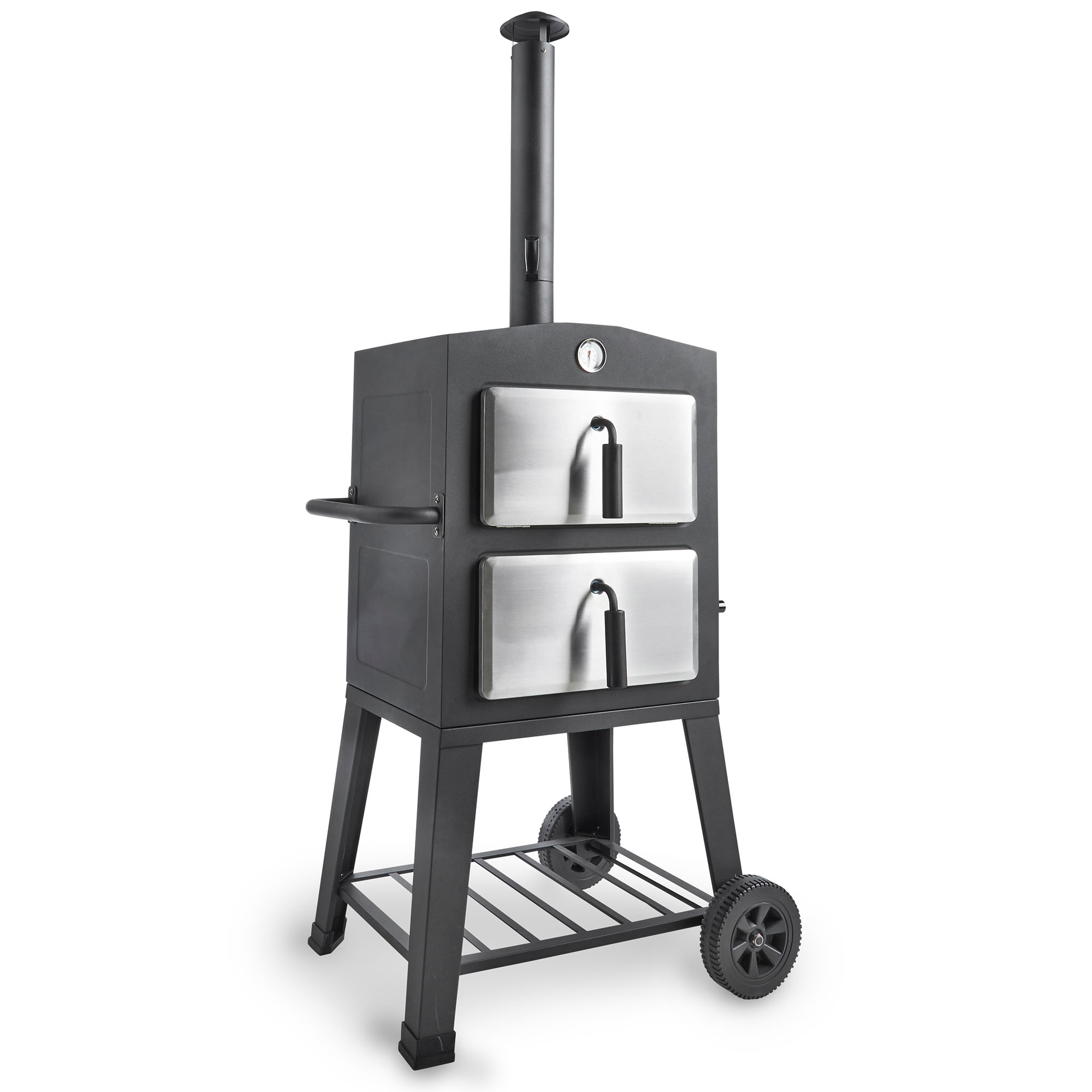 vonhaus 3 in 1 bbq grill pizza oven smoker with temp gauge pizza stone portable. Black Bedroom Furniture Sets. Home Design Ideas