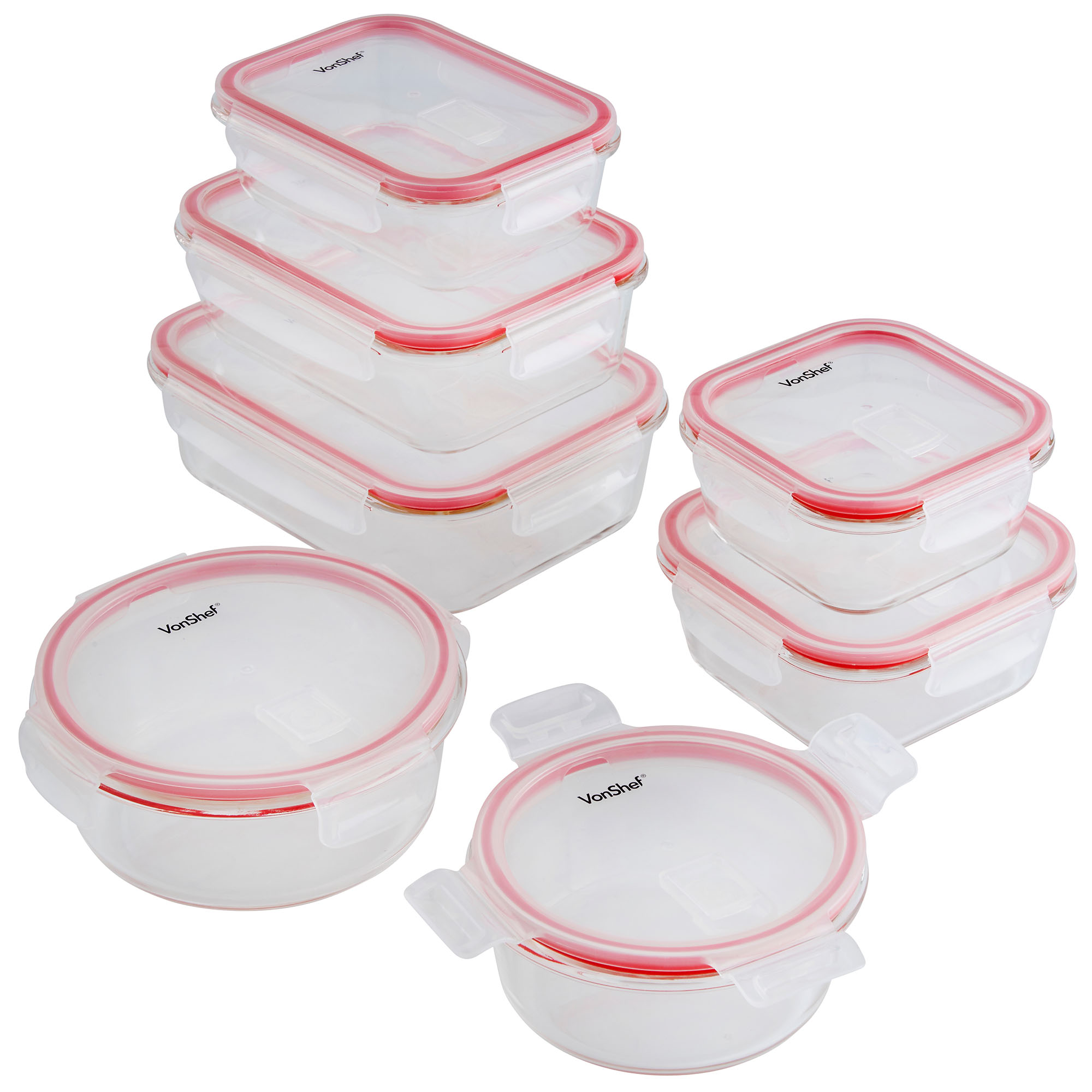 Vonshef 7pc Oven Microwave Safe Glass Container Food