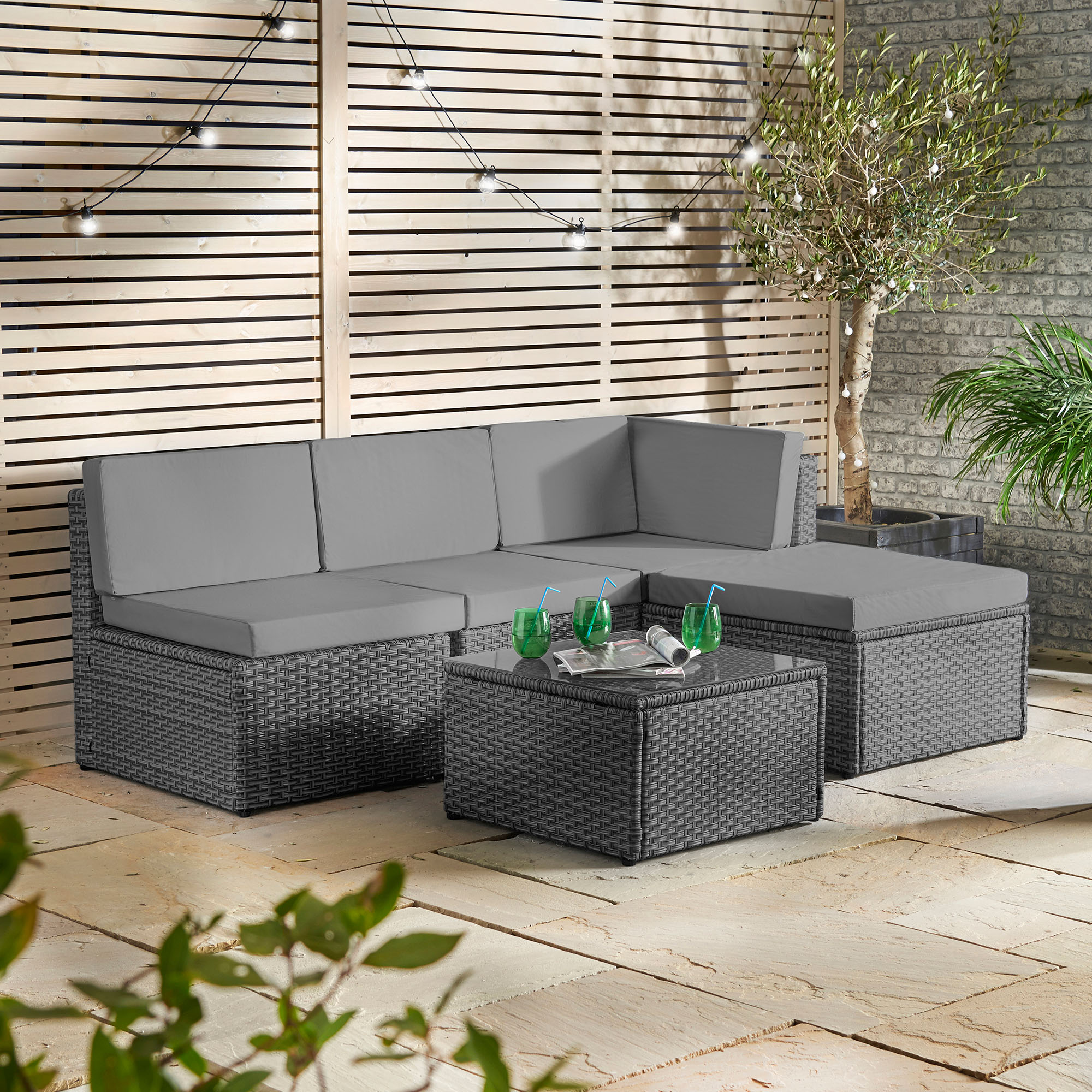 sentinel vonhaus rattan modular sofa set cushioned l shaped lounge dining set for garden