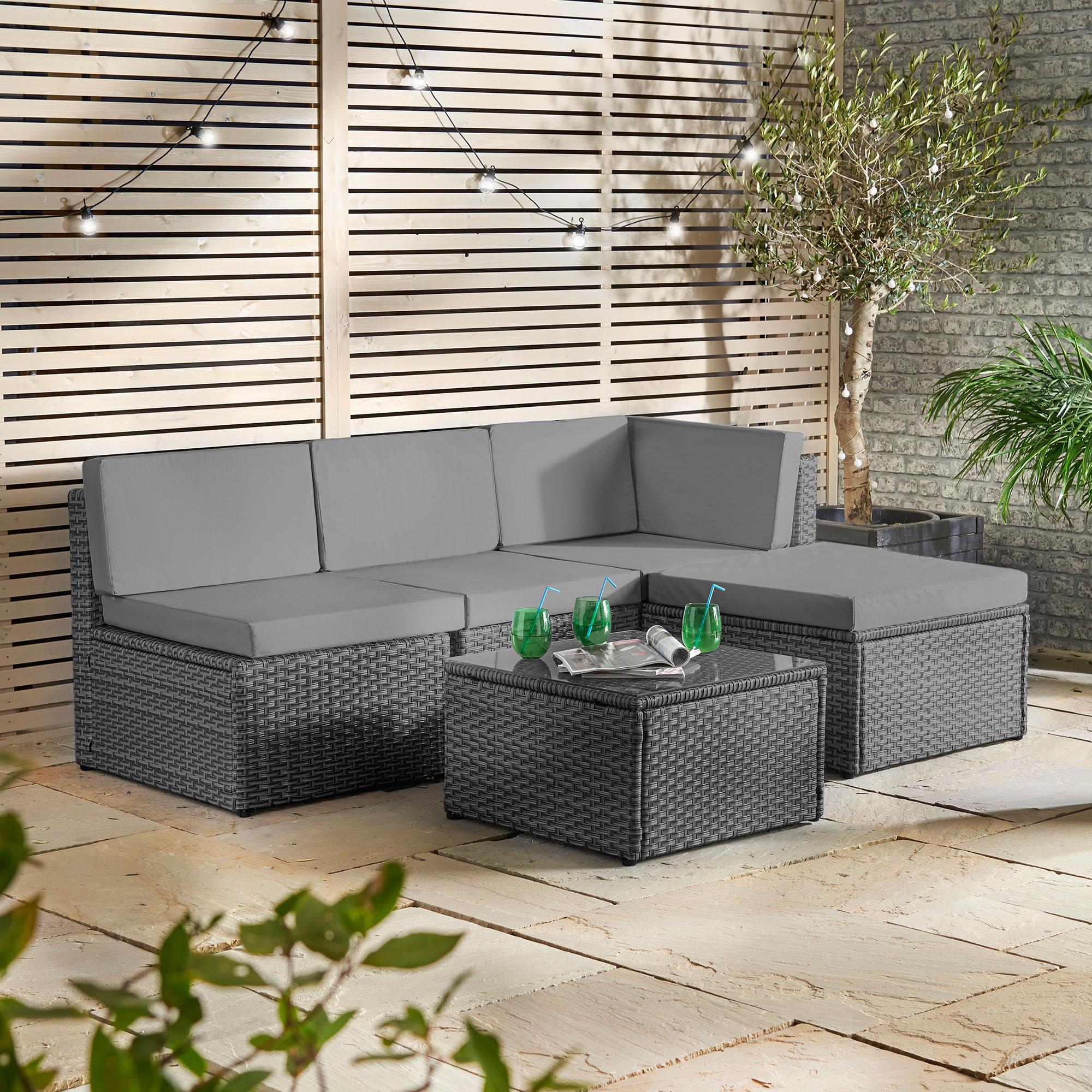 sentinel vonhaus rattan modular sofa set cushioned l shaped lounge dining set for garden - Rattan Garden Furniture L Shape