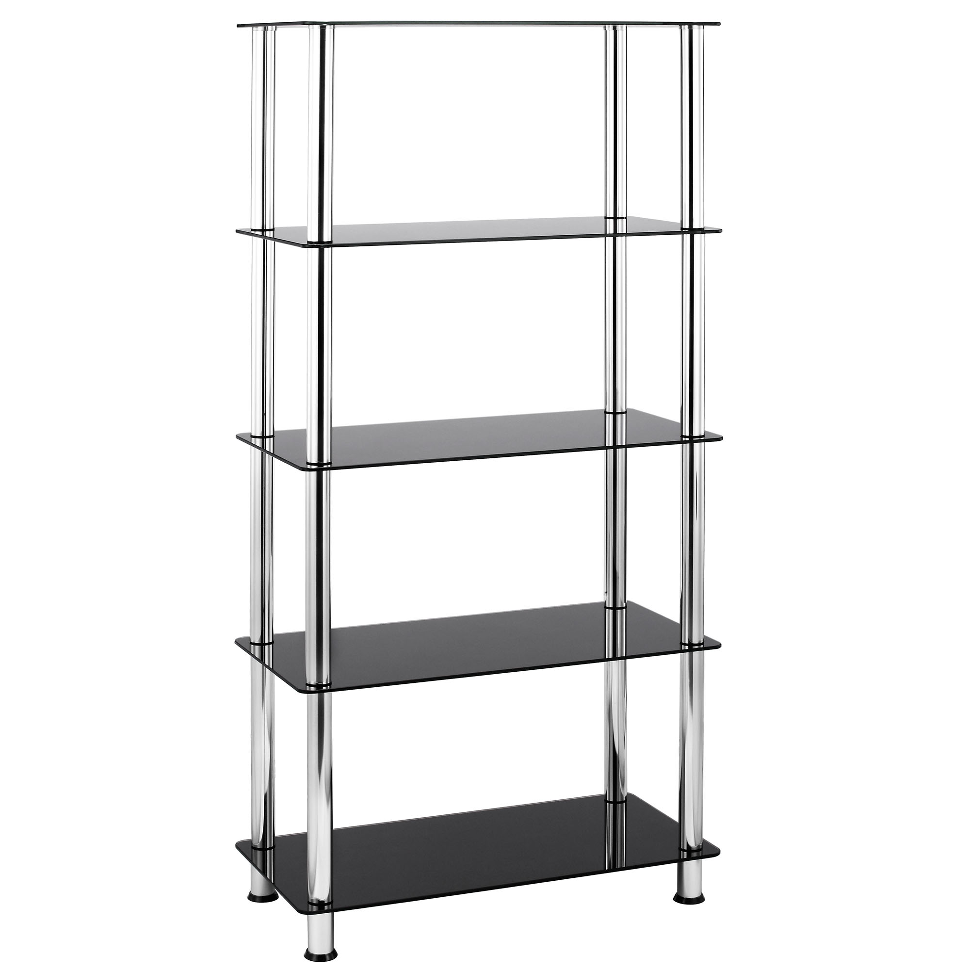 Vonhaus 5 tier black glass shelving unit bookcase with for Chrome bathroom shelving unit