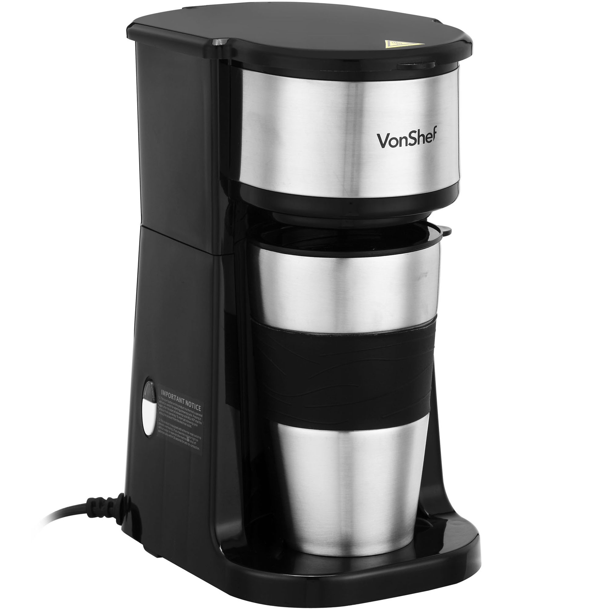 Coffee Maker That Fits Travel Mug : VonShef Personal Filter Coffee Machine Maker with 420ml Travel Mug & Lid eBay