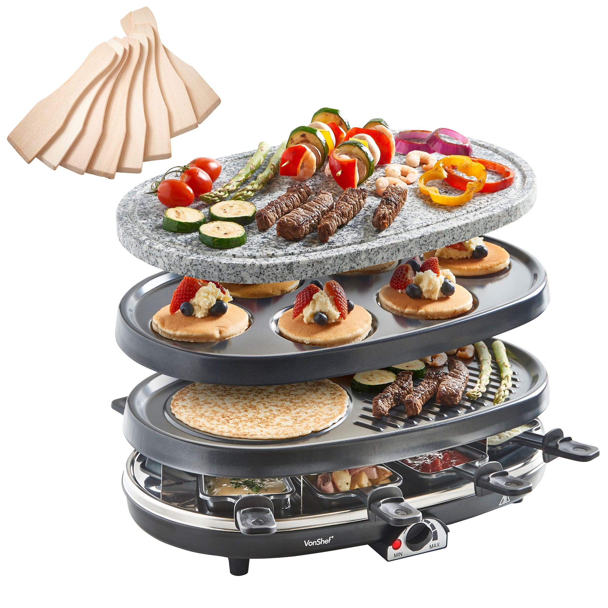 vonshef 3 in 1 natural stone raclette grill crepe tapas maker fondue hotplate ebay. Black Bedroom Furniture Sets. Home Design Ideas