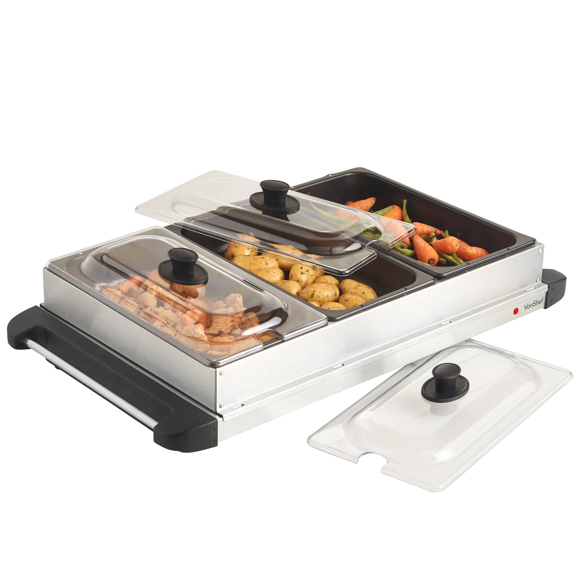 3 Tray Food Warmer ~ Vonshef stainless steel electric pan buffet food server