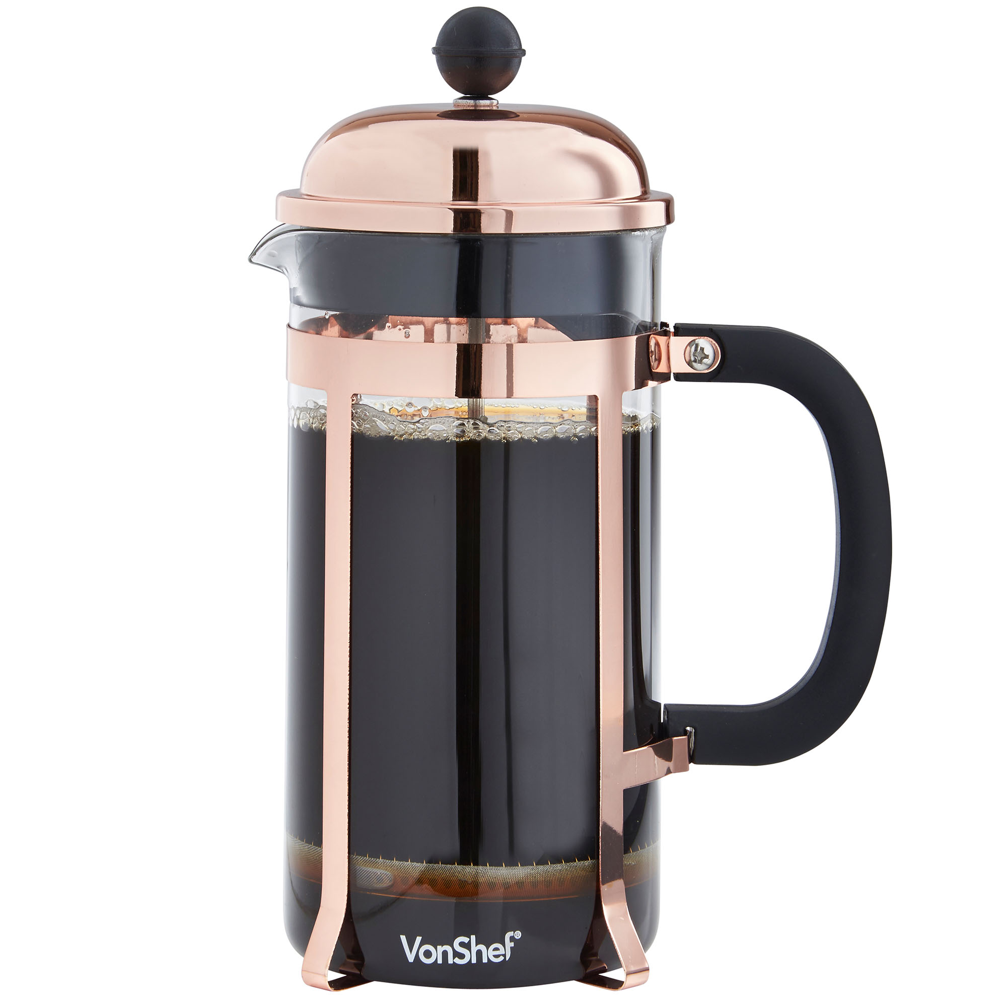 vonshef 8 cup 1 litre copper finish french press cafetiere filter coffee maker. Black Bedroom Furniture Sets. Home Design Ideas