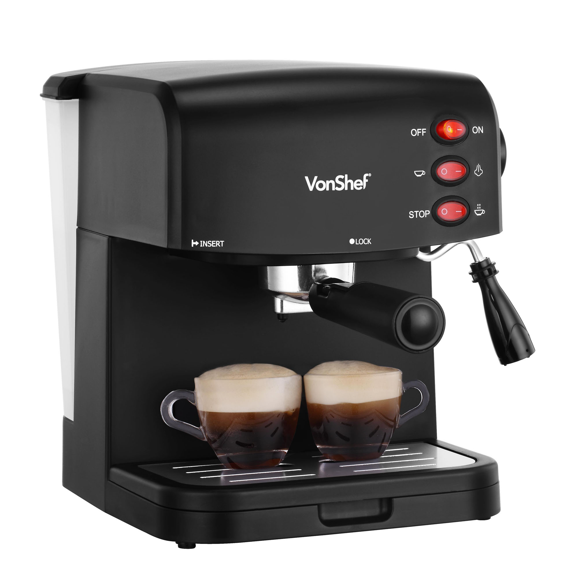 vonshef 15 bar espresso machine cappuccino latte coffee maker 850w black ebay. Black Bedroom Furniture Sets. Home Design Ideas
