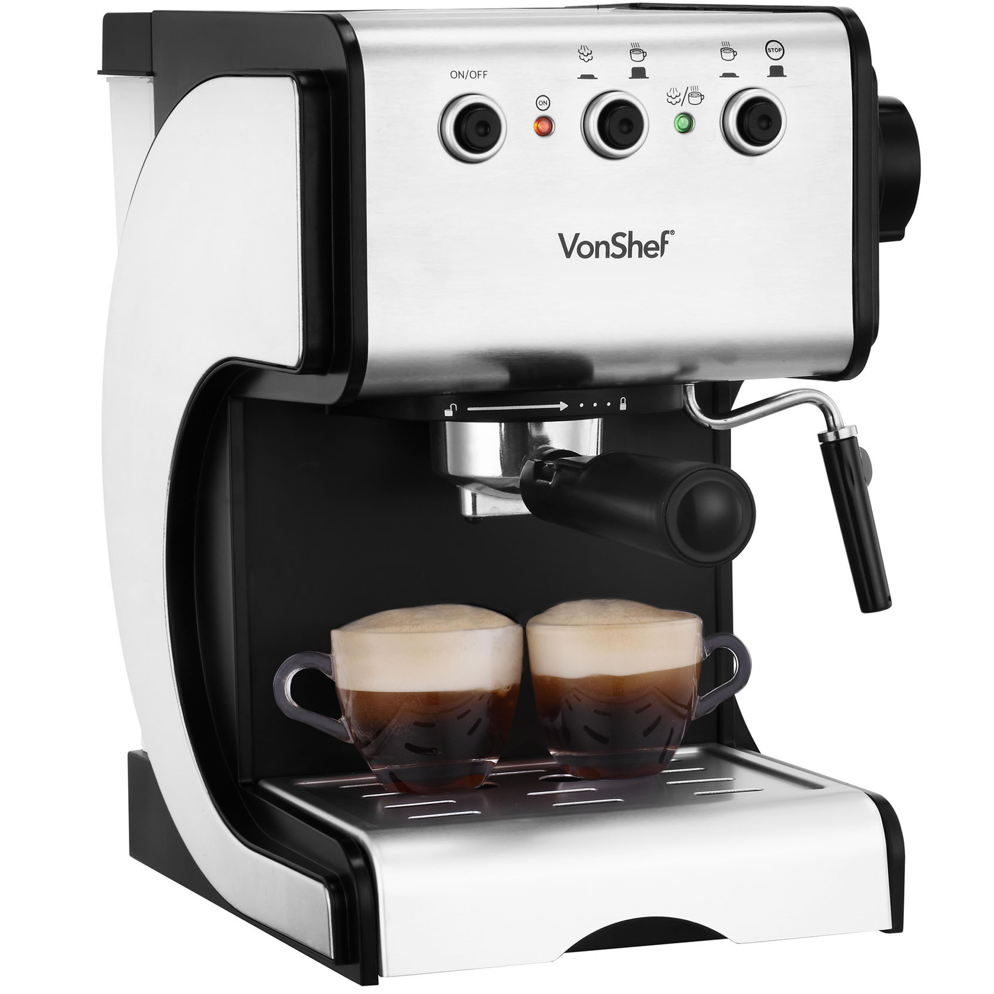 vonshef premium 15 bar stainless steel espresso cappuccino coffee maker machine ebay. Black Bedroom Furniture Sets. Home Design Ideas