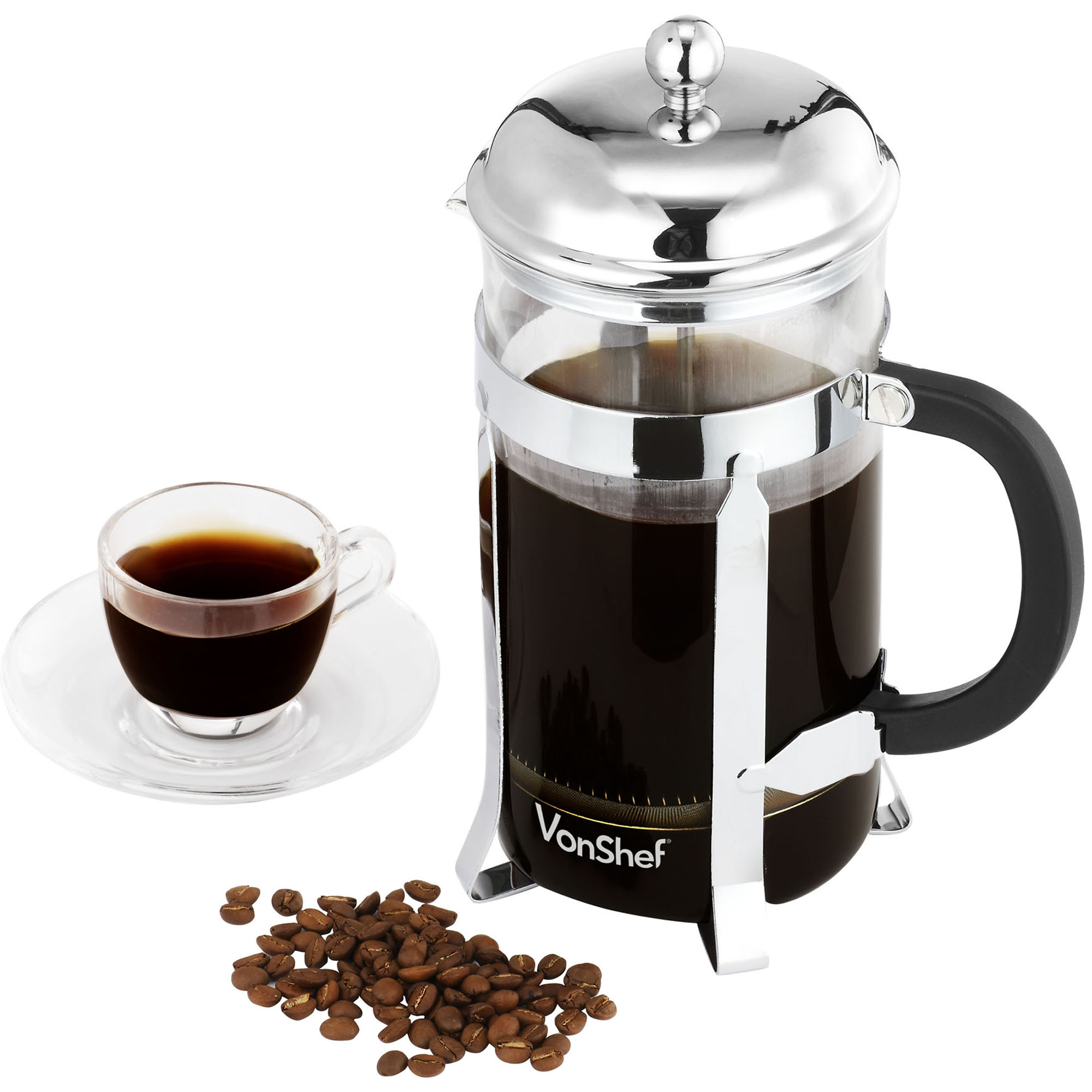 vonshef 8 cup 1 litre french press stainless steel cafetiere filter coffee maker ebay. Black Bedroom Furniture Sets. Home Design Ideas