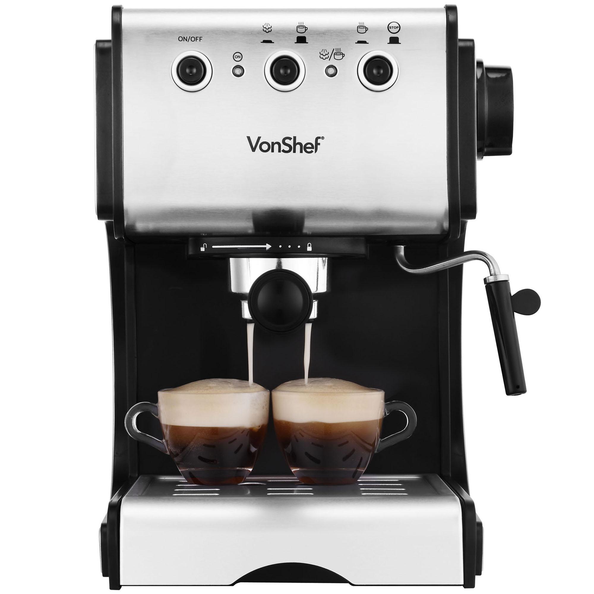 Vonshef Coffee Maker Reviews : VonShef Premium 15 Bar Stainless Steel Espresso Cappuccino Coffee Maker Machine eBay