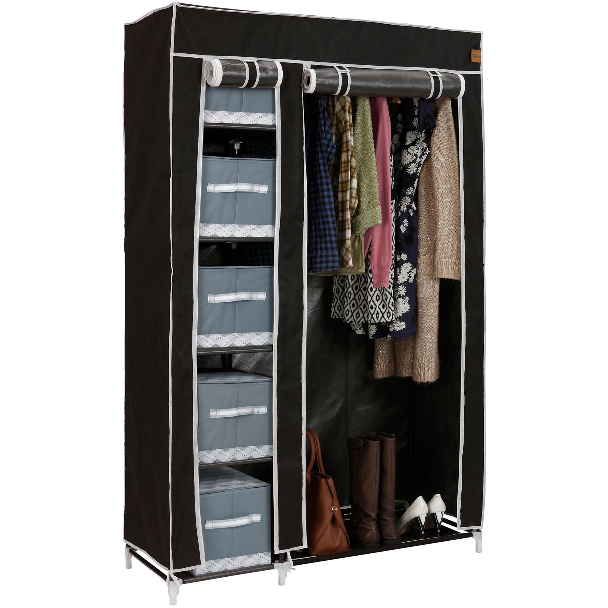 New Non Woven Fabric Folding Underwear Storage Box Bedroom: VonHaus Double Canvas Wardrobe Clothes Hanging Rail