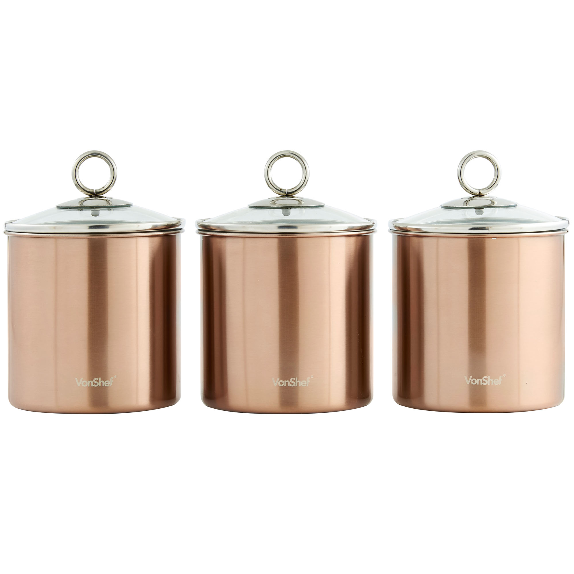 Vonshef 3pc stainless steel tea coffee sugar kitchen - Coffee tea and sugar canisters ...
