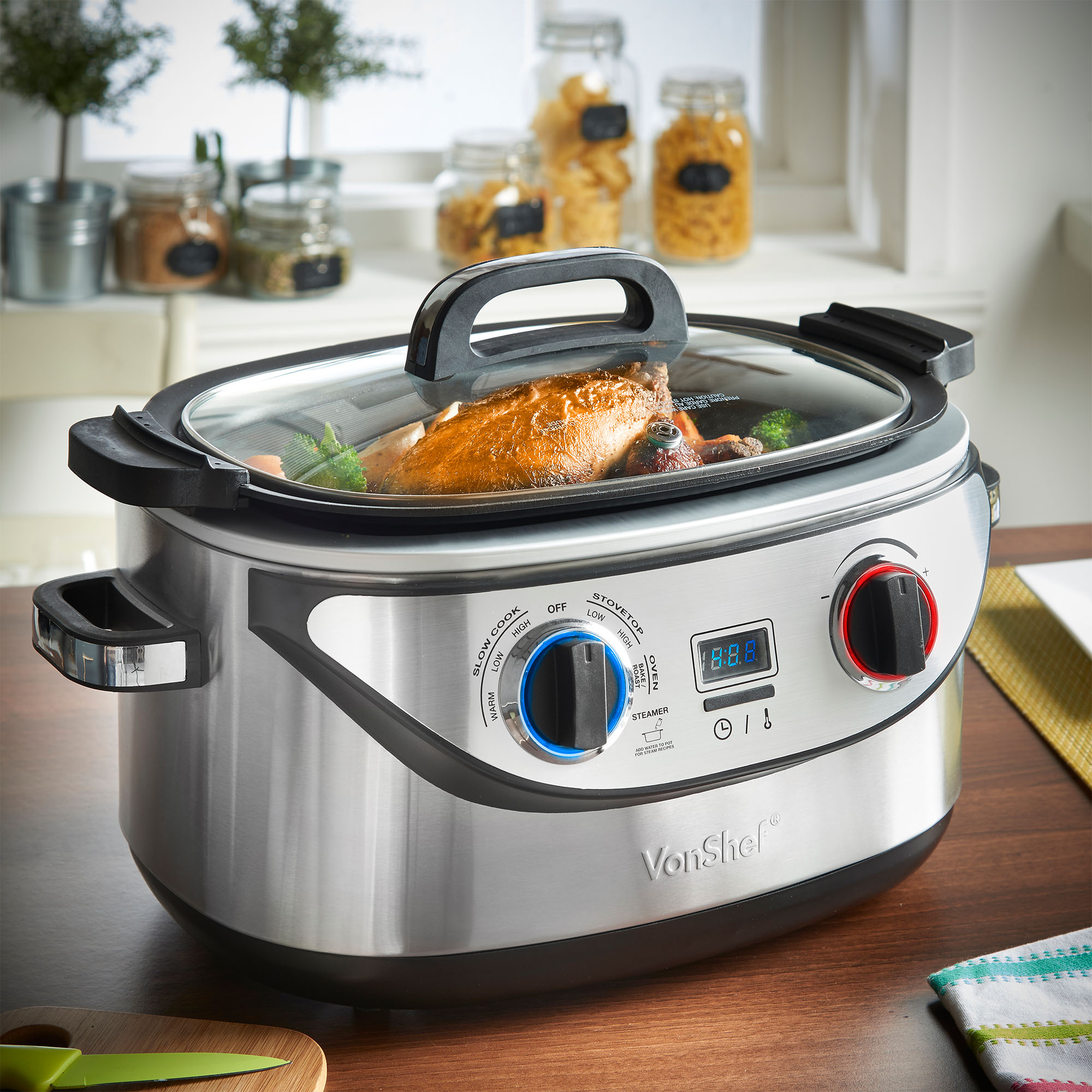 Sentinel Vonshef 8 In 1 Multi Function Cooker Non Stick Slow Cook Steam Roast Bake Sear