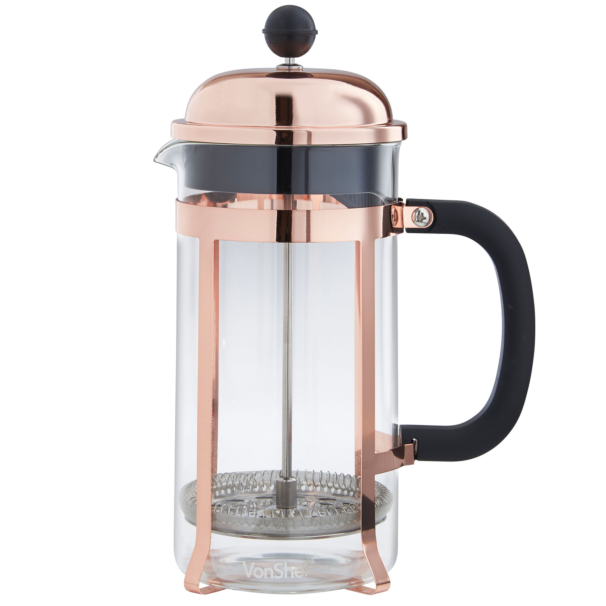Sentinel Vonshef 8 Gl Cup 1l French Press Cafetiere Filter Coffee Maker Copper Finish