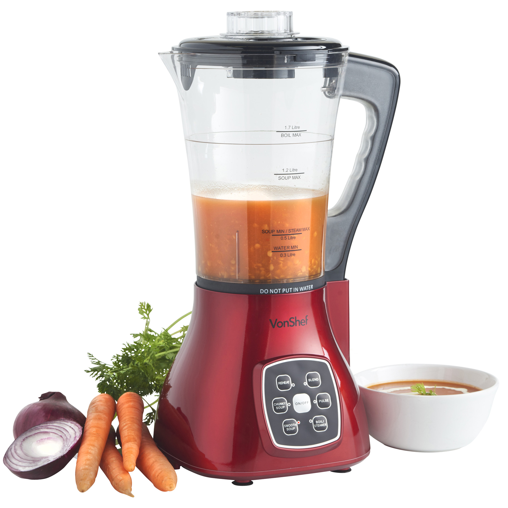 vonshef soup maker red juicer smoothie machine electric blender mixer multi ebay. Black Bedroom Furniture Sets. Home Design Ideas