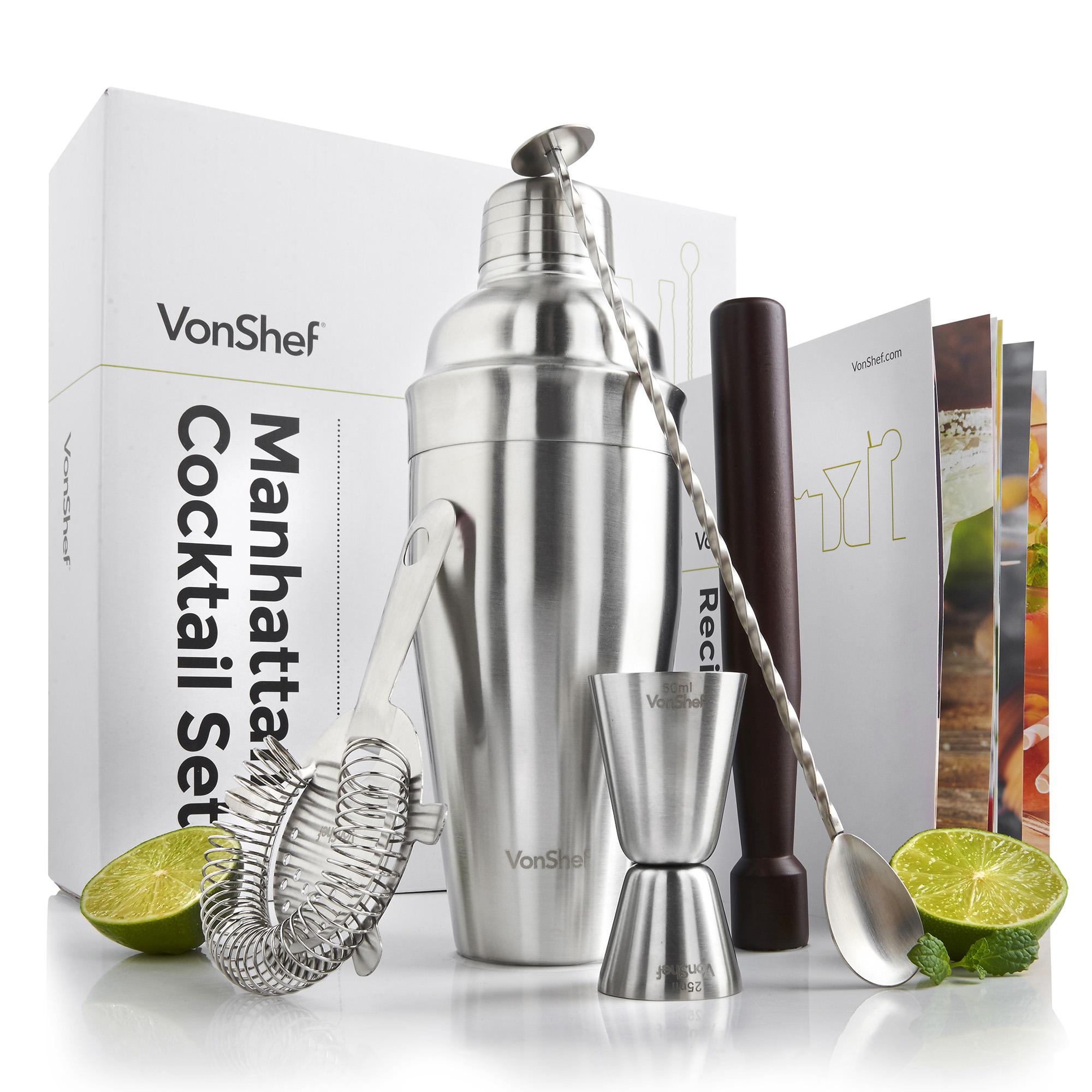 vonshef stainless steel manhattan cocktail shaker set gift box recipe guide ebay. Black Bedroom Furniture Sets. Home Design Ideas