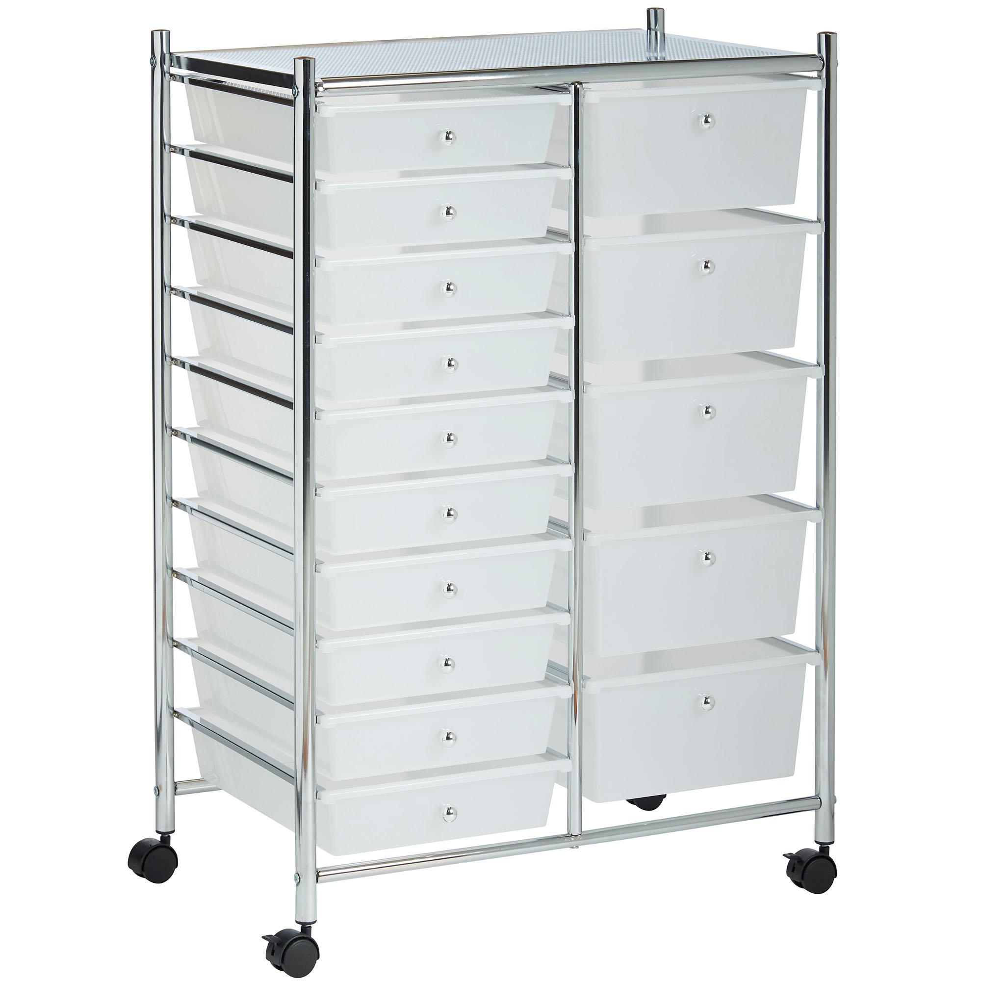 7 X 10 Storage Unit: VonHaus White 15 Drawer Home Office Salon Make Up Mobile
