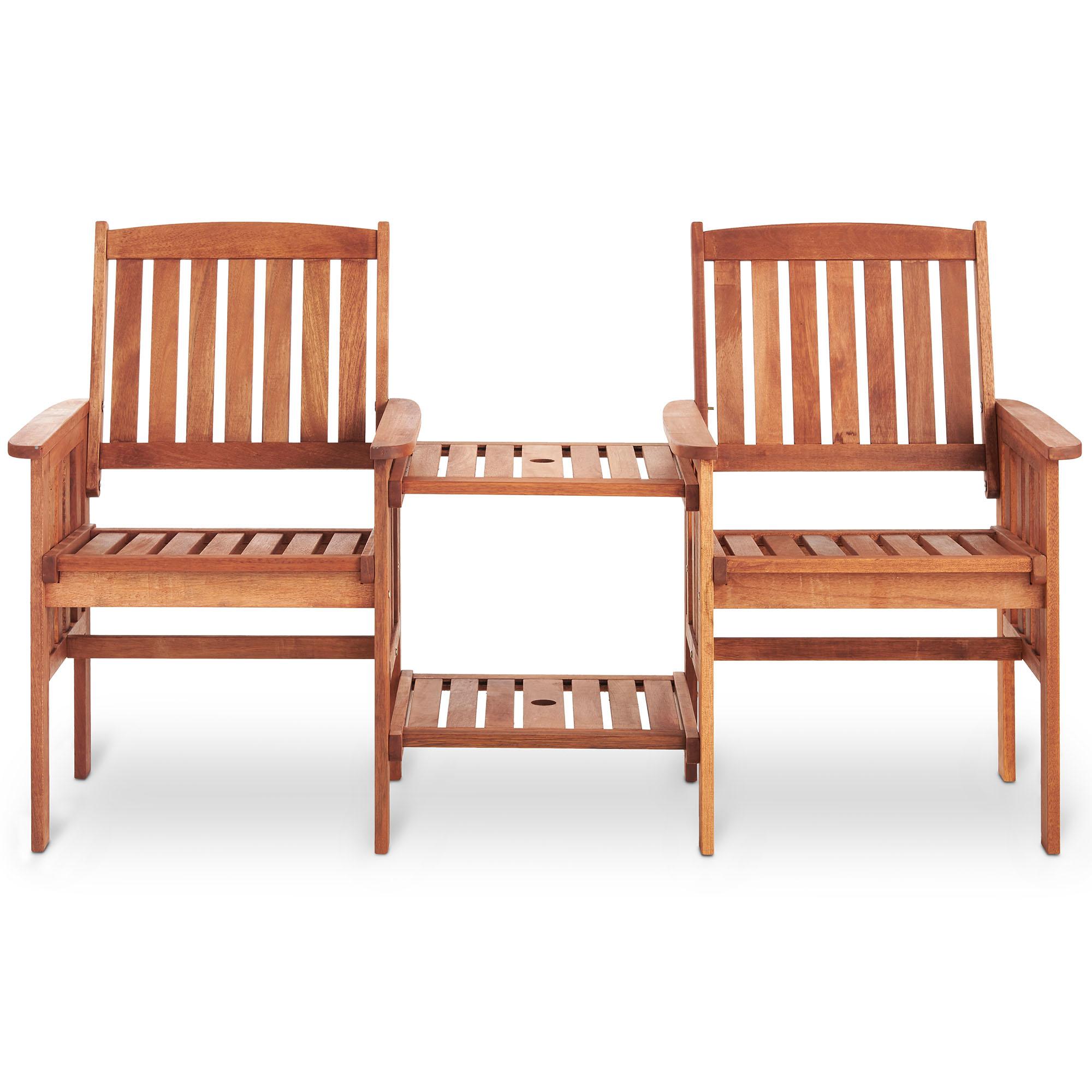 Vonhaus garden love seat bench 2 seater hardwood outdoor for Outdoor furniture 2 seater