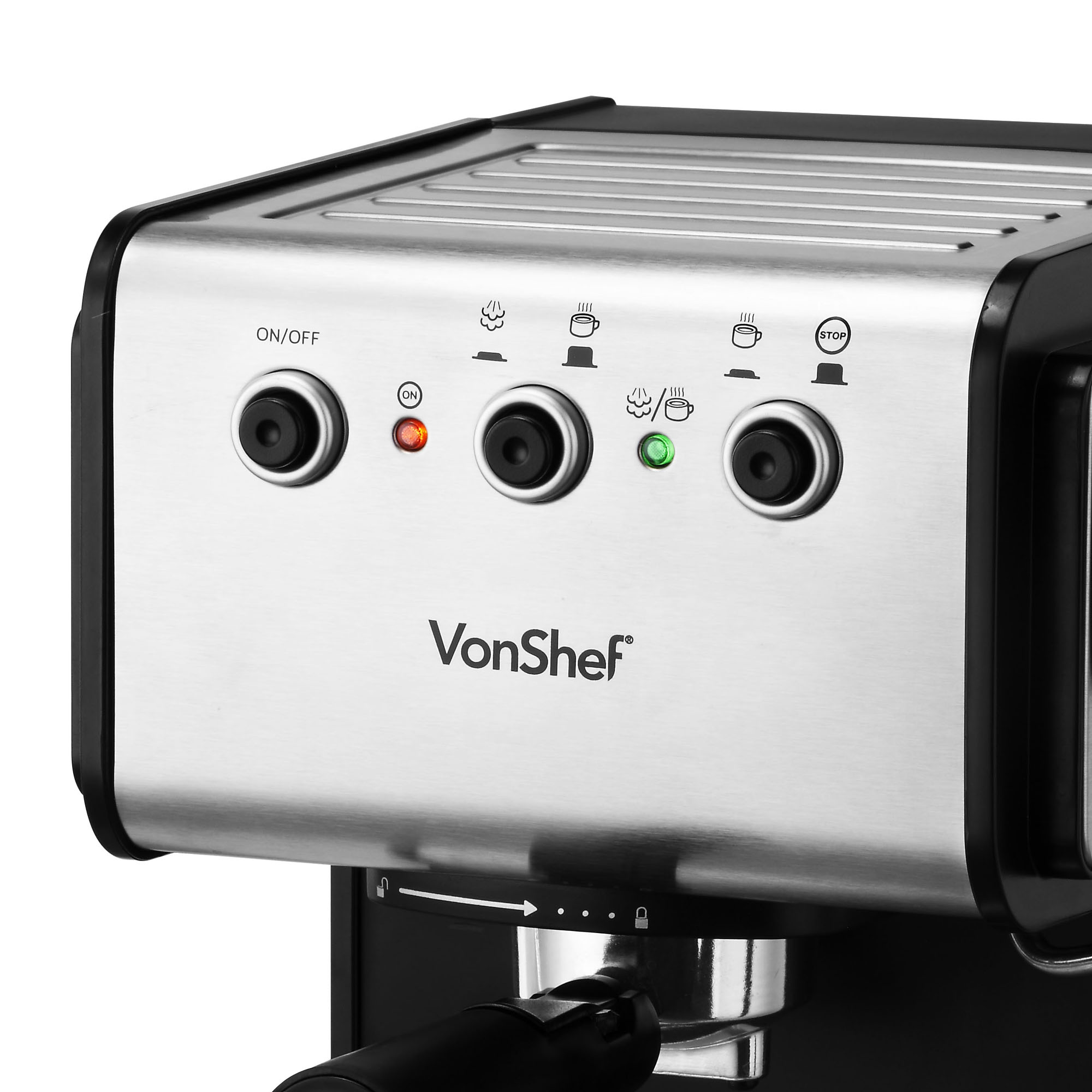 Sentinel Vonshef Premium 15 Bar Stainless Steel Espresso Cuccino Coffee Maker Machine