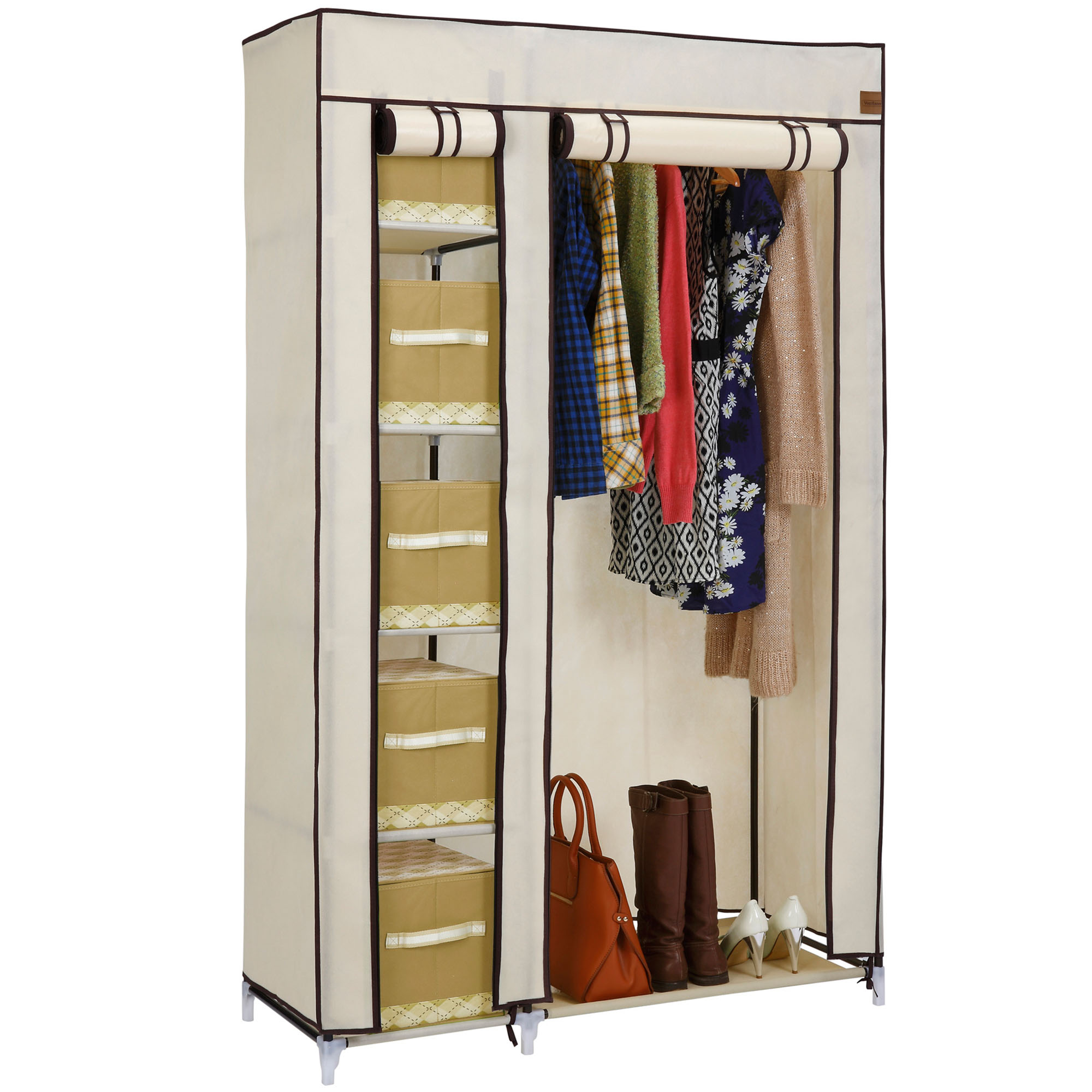 vonhaus double canvas effect wardrobe clothes hanging rail shelves storage beige ebay. Black Bedroom Furniture Sets. Home Design Ideas