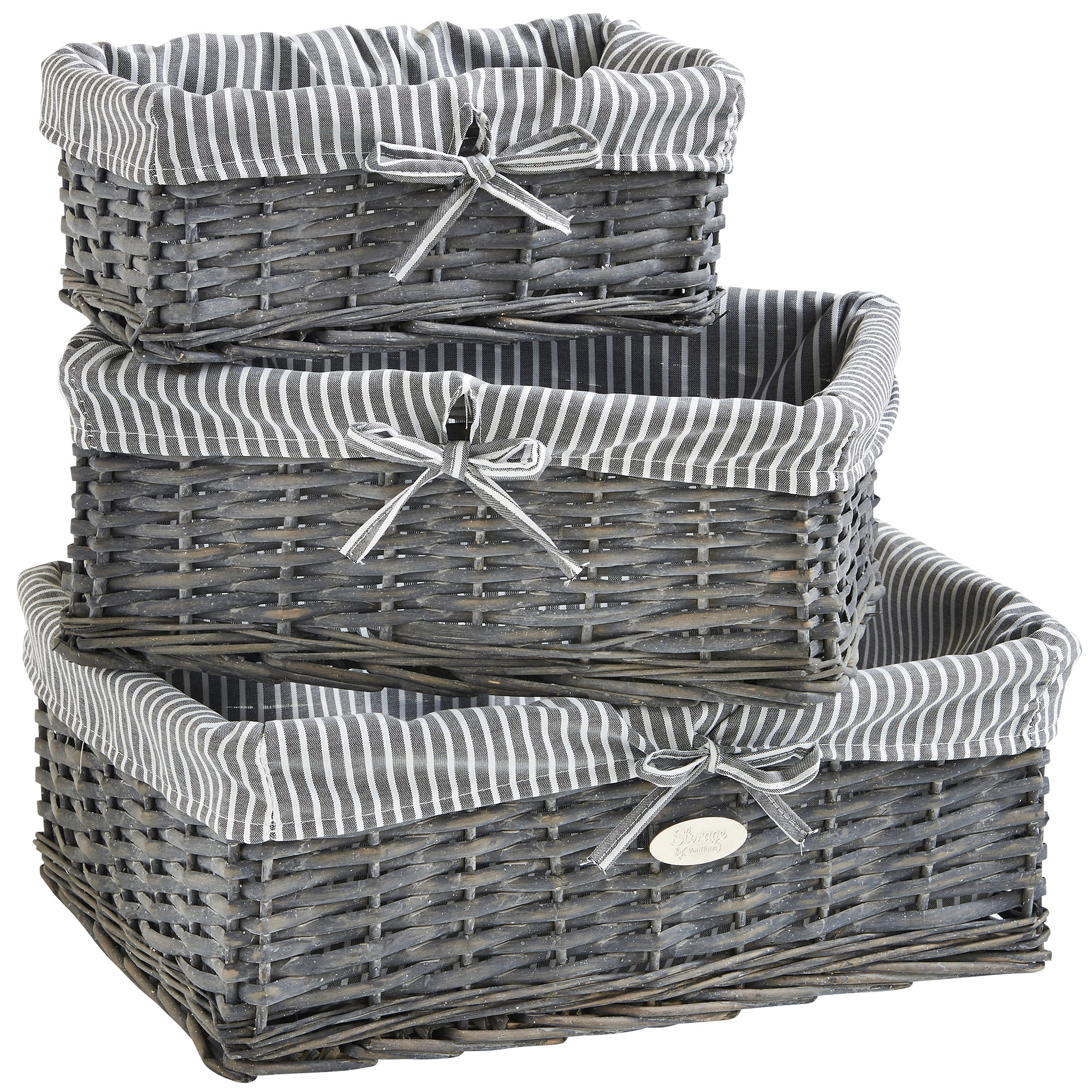 Grey Wicker Basket Uk : Vonhaus set of grey wicker storage baskets with