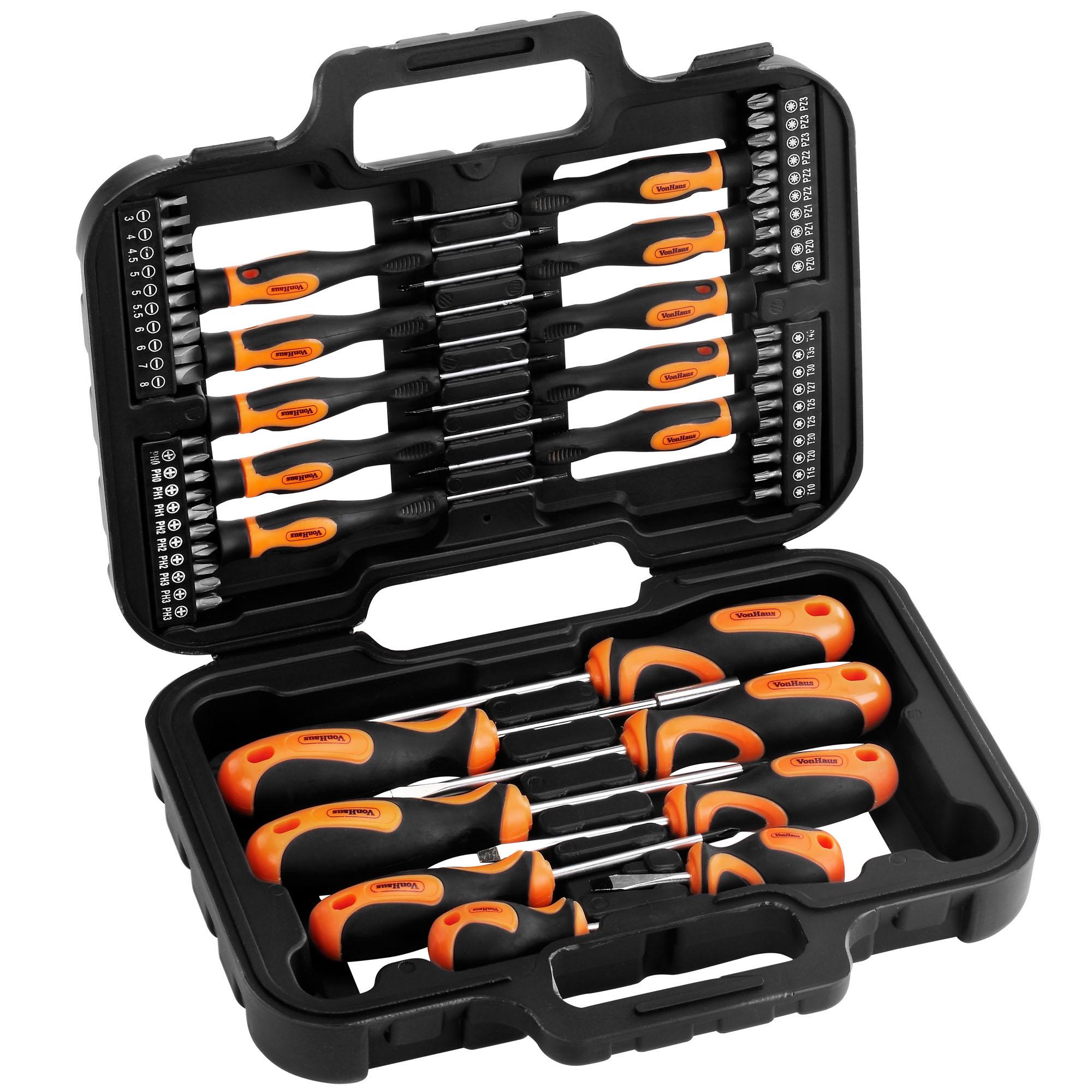 vonhaus 58pc precision screwdriver magnetic tip bits set case torx phillips pozi. Black Bedroom Furniture Sets. Home Design Ideas