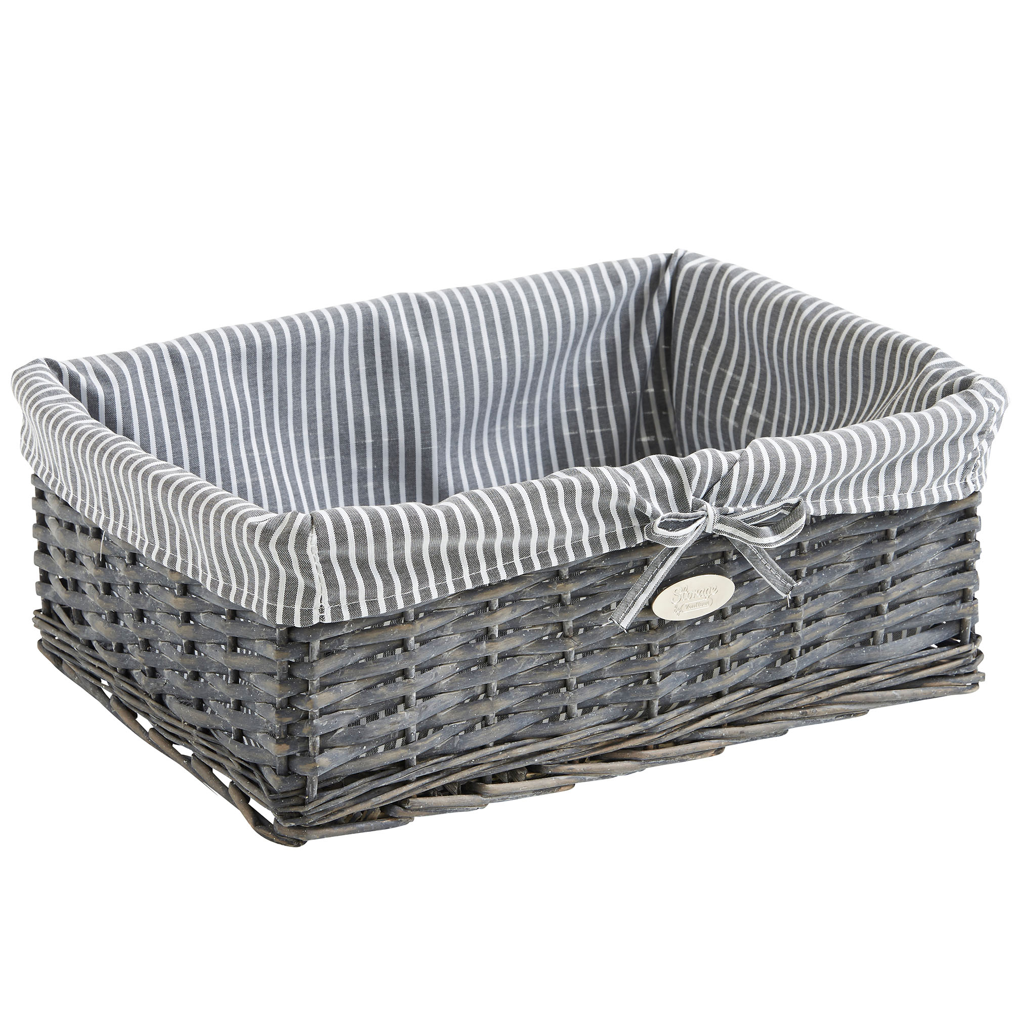 Grey Wash Wicker Storage Basket: VonHaus Set Of 3 Grey Wicker Storage Baskets With
