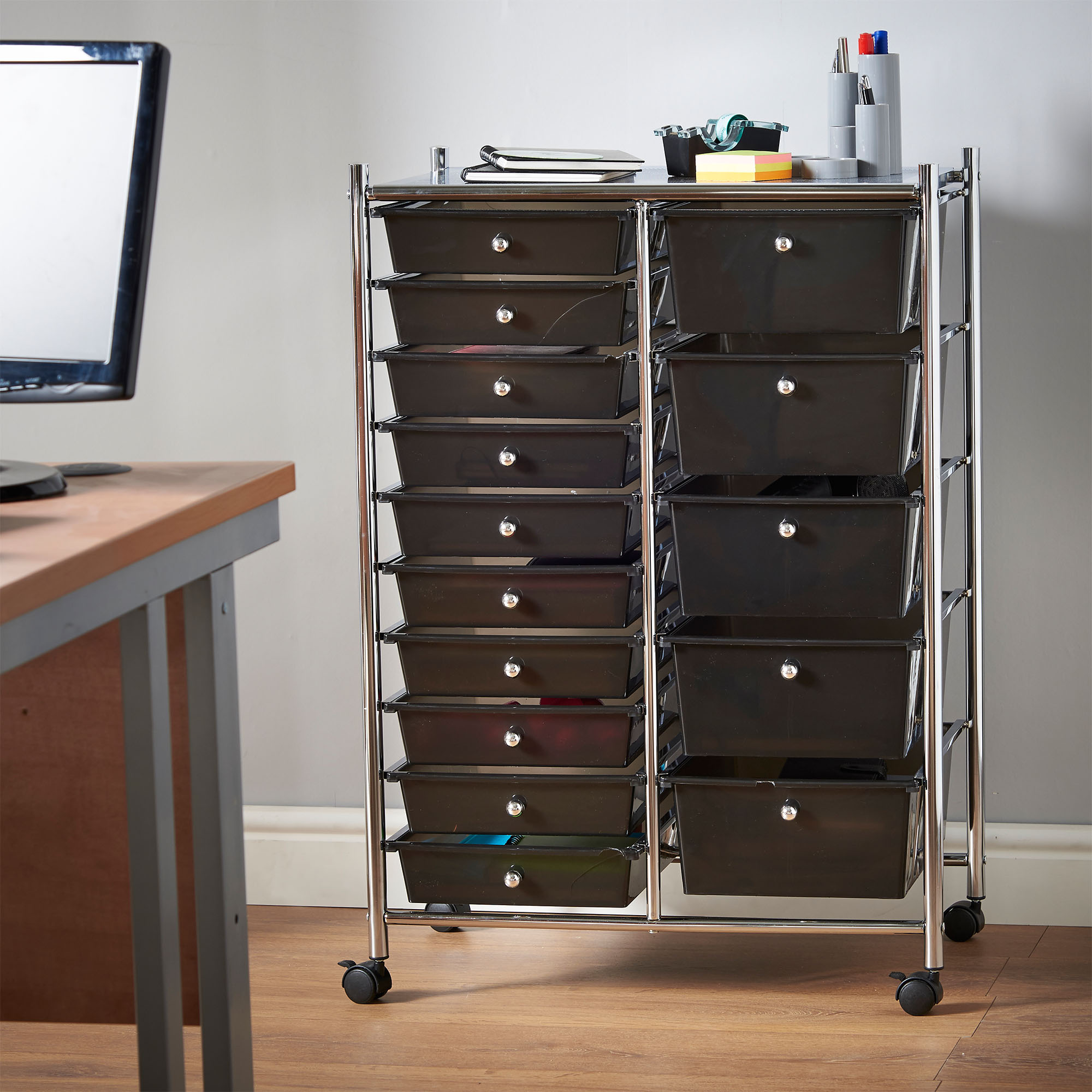 VonHaus Black 15 Drawer Home Office Salon Make Up Mobile