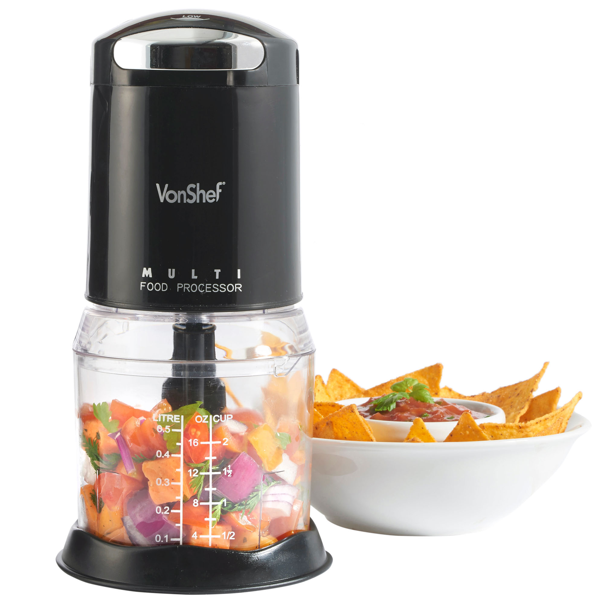 vonshef food chopper processor mini electric kitchen 250w. Black Bedroom Furniture Sets. Home Design Ideas