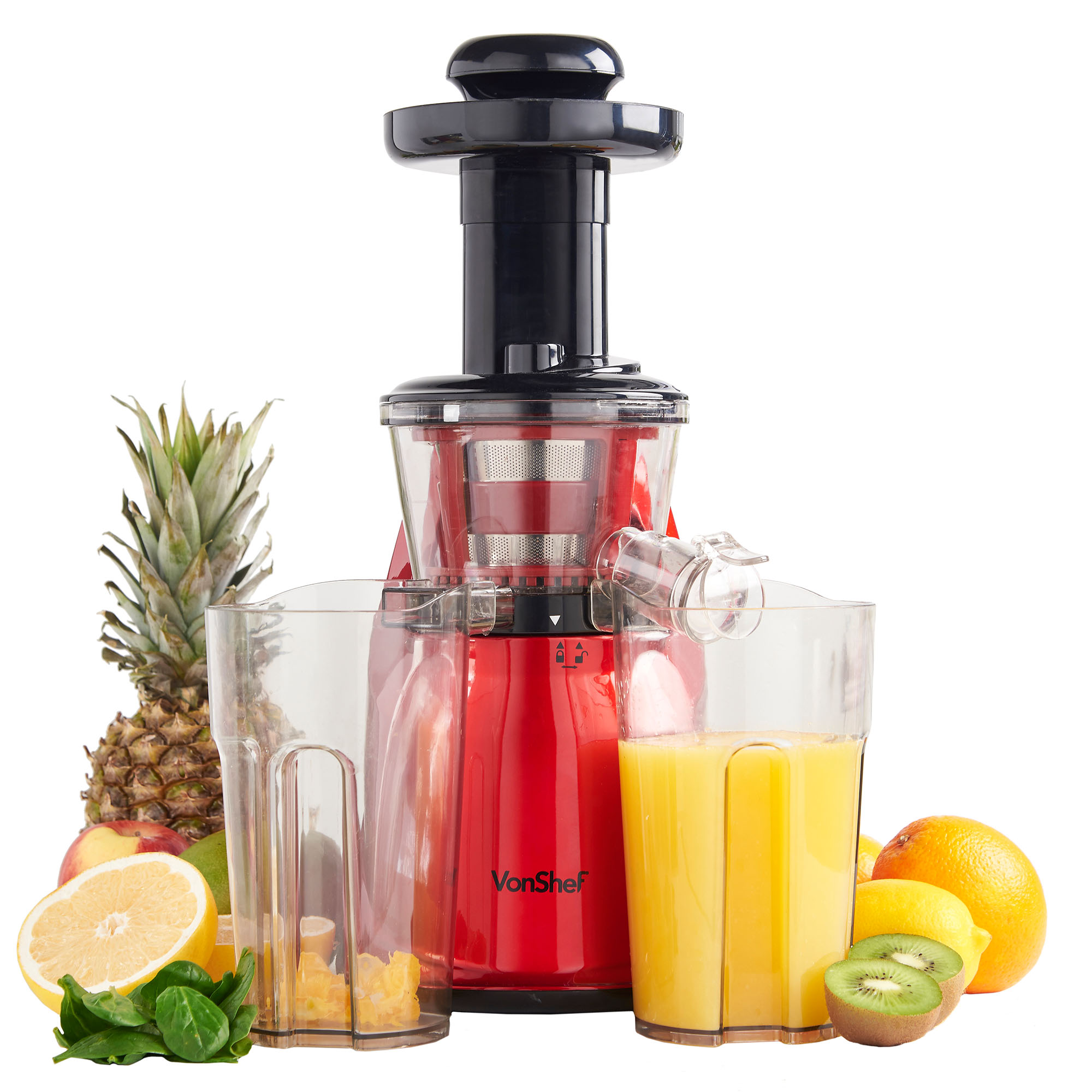 vonShef Premium Slow Masticating Juicer Electric vegetable Juice Extractor - Red eBay