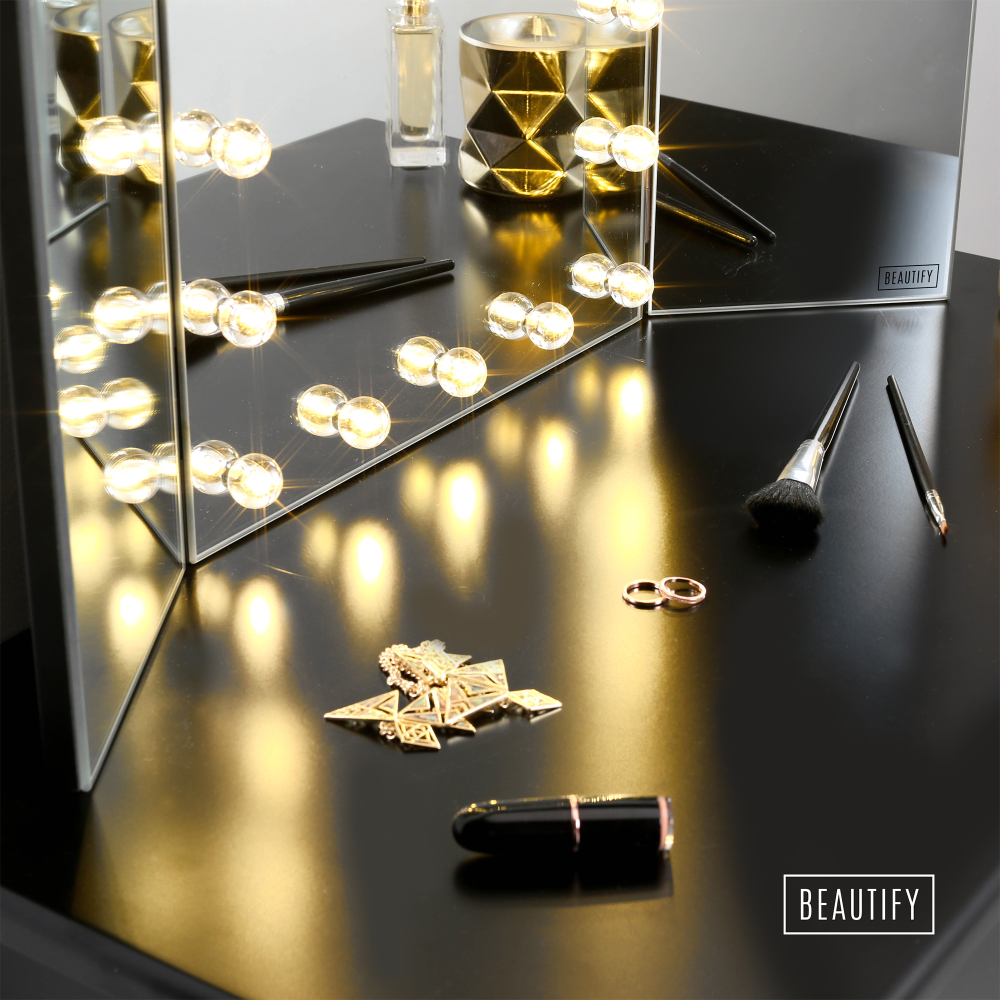 beautify mirror led hollywood table top dressing table tri b