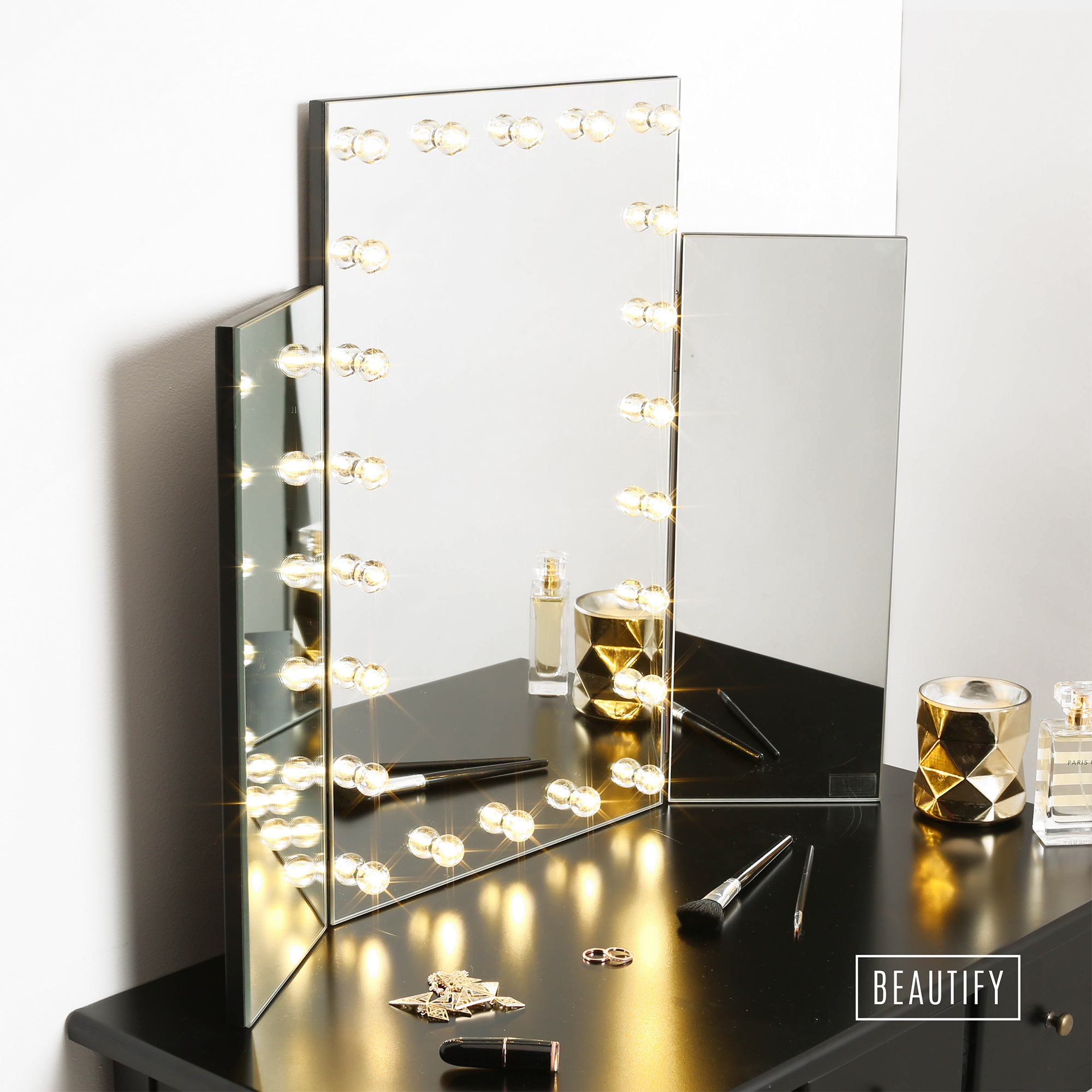 Beautify LED Light Table Top Tri 3 Way Fold Folding Dressing Table Vanity Mirror eBay