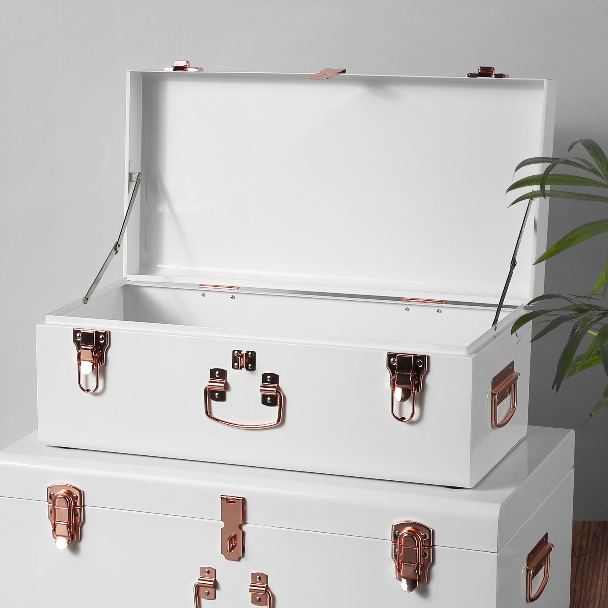 sentinel beautify vintage style steel storage box chest trunk set of 2 cream u0026 rose gold