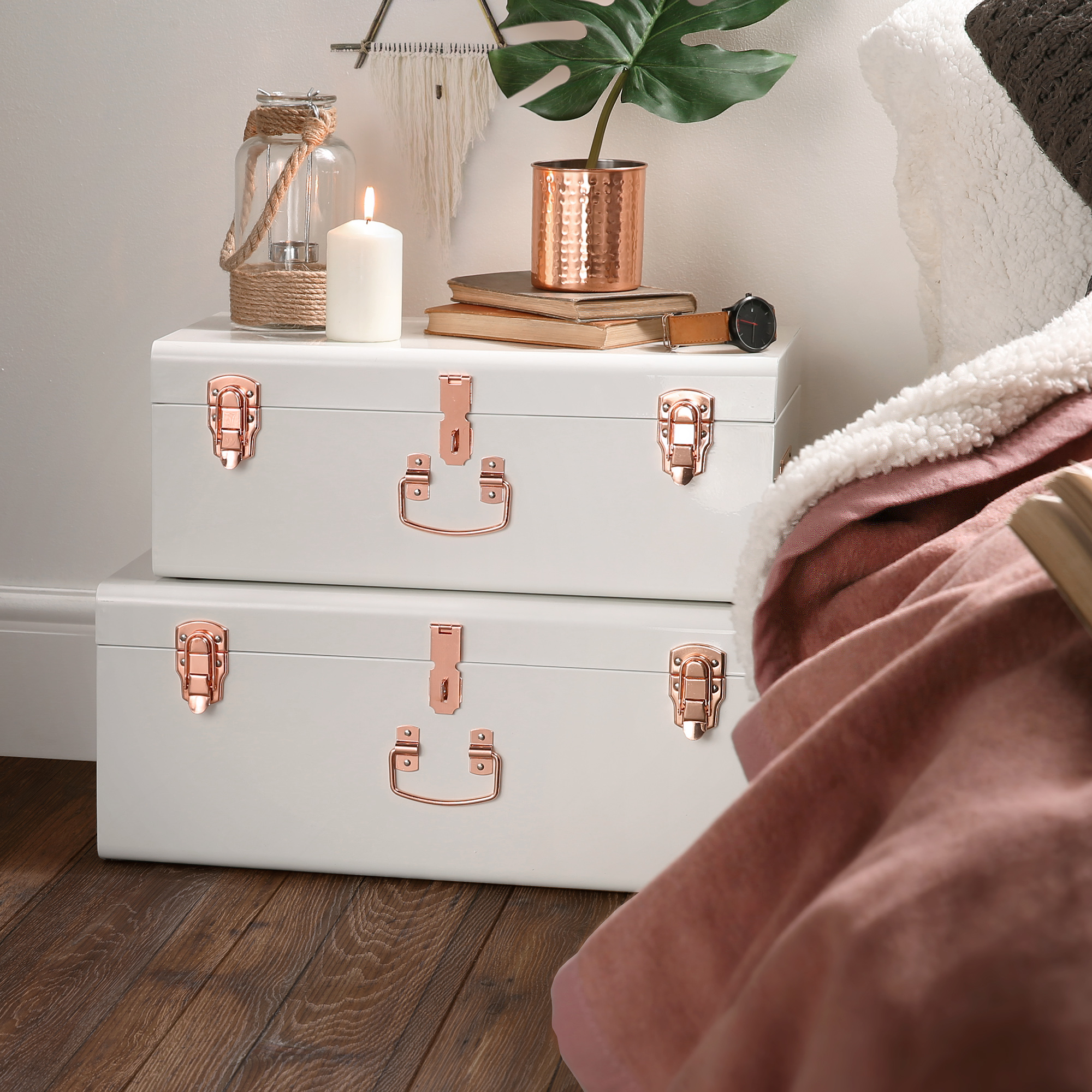 Beautify Chest Trunks Set of 2 Cream & Rose Gold Suitcase Box ...