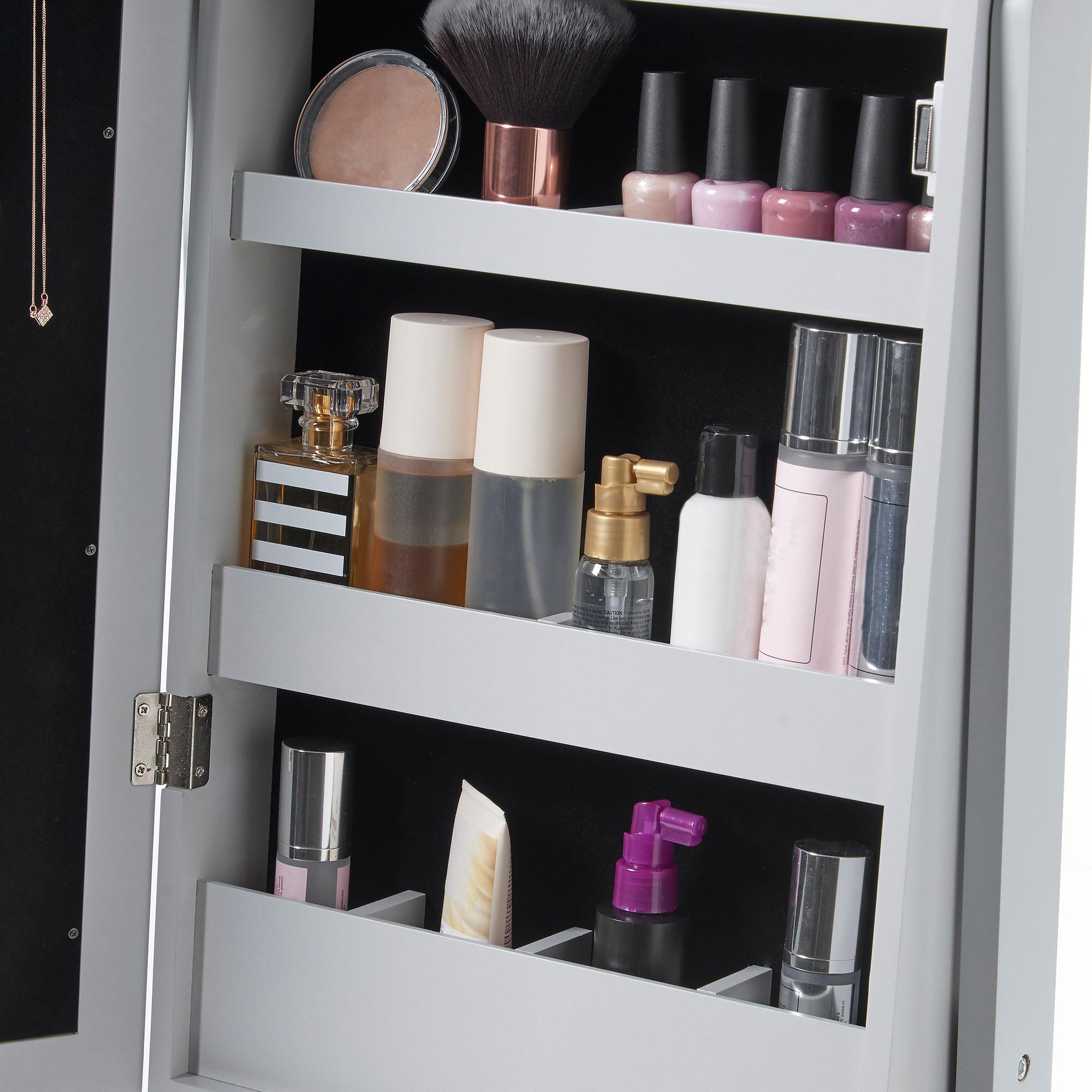 Beautify Grey Full Length Led Makeup Jewellery Organiser