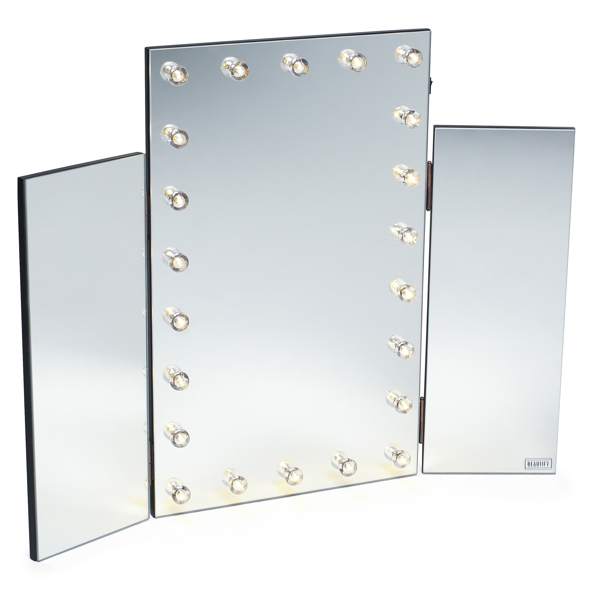 Beautify led light table top tri 3 way fold folding for Miroir avec lumiere