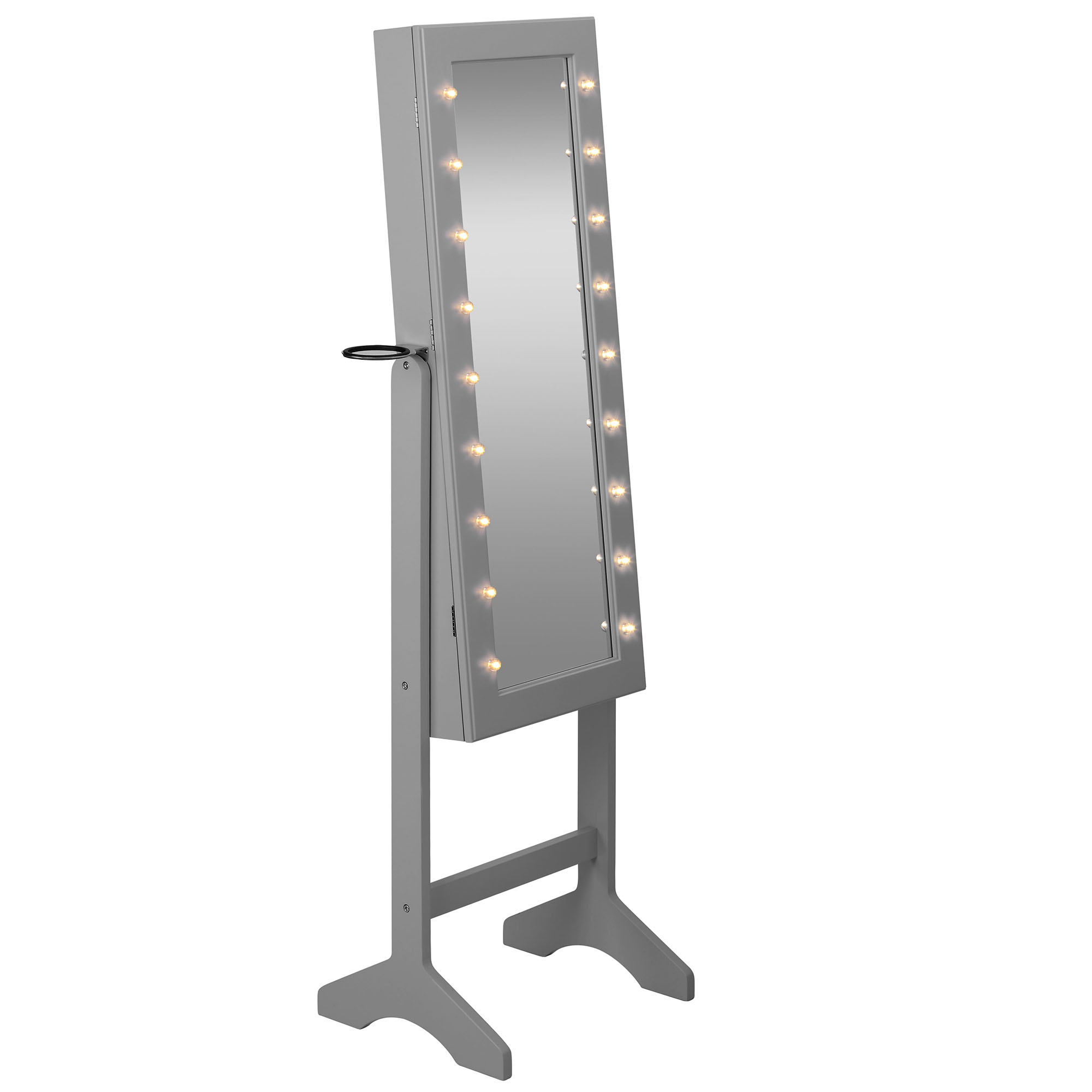 Beautify grey full length led makeup jewellery organiser for Grey floor length mirror