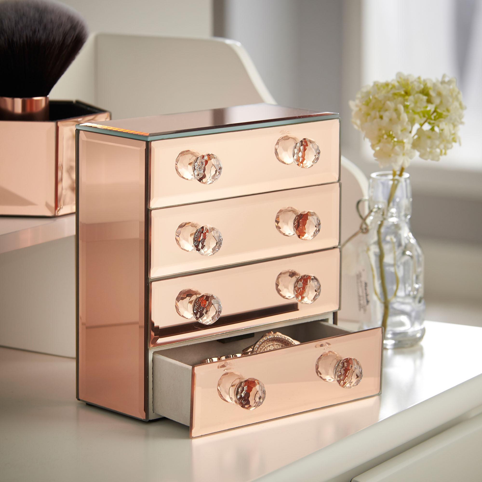Beautify 4 Drawers Rose Gold Mirrored Glass Jewellery Box