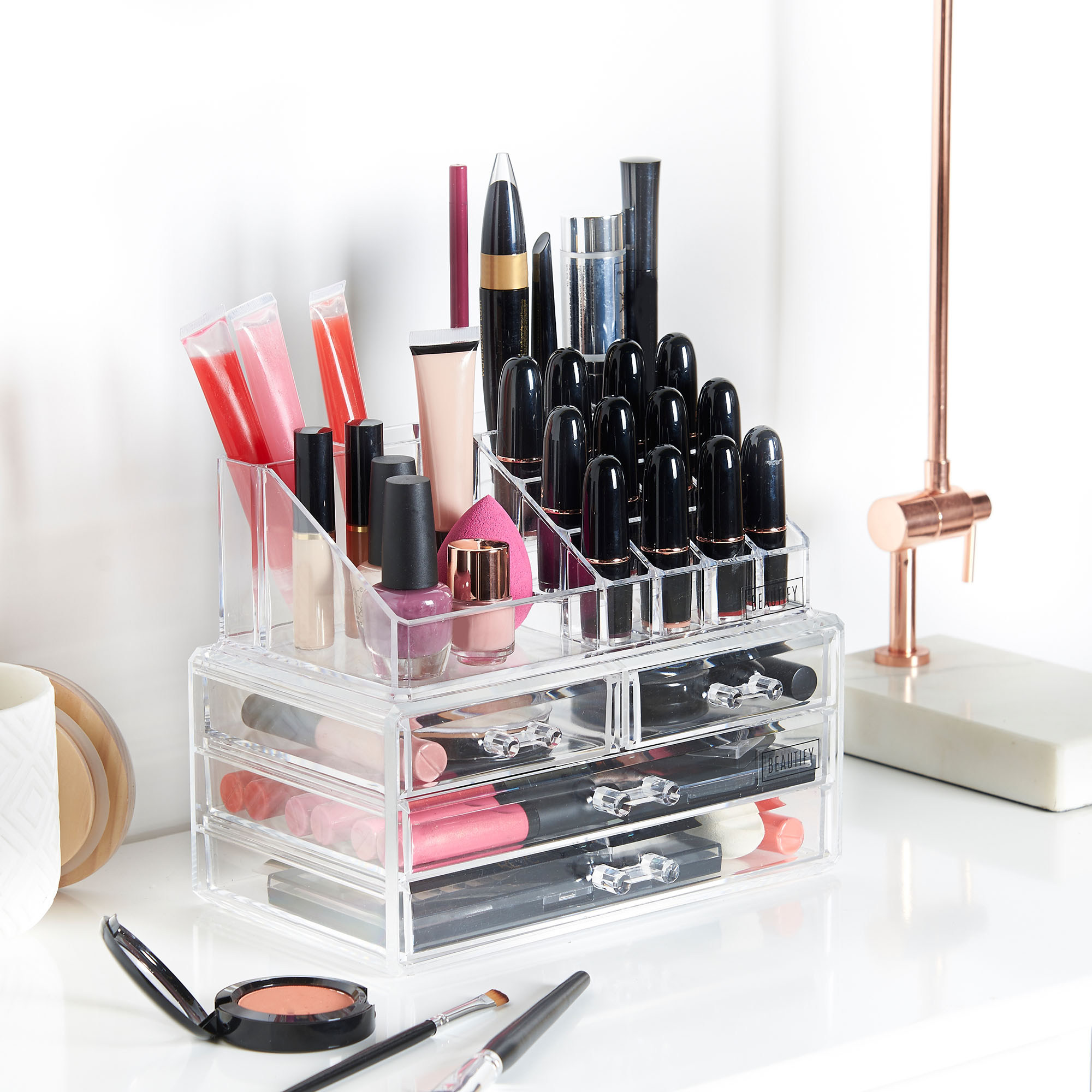 Beautify acrylic make up organiser clear 4 drawer storage for Beauty table organiser