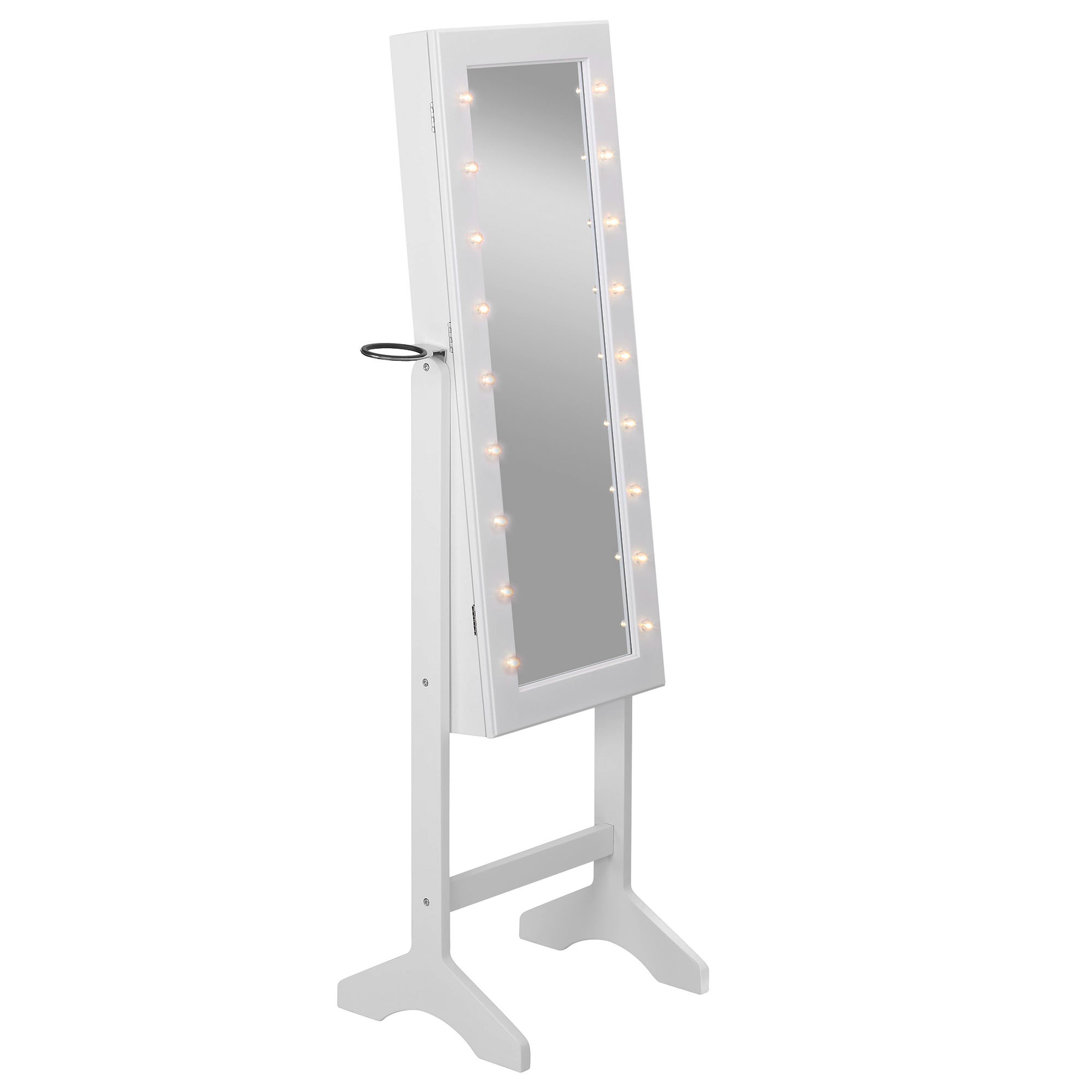 Beautify White Full Length Led Makeup Jewellery Organiser